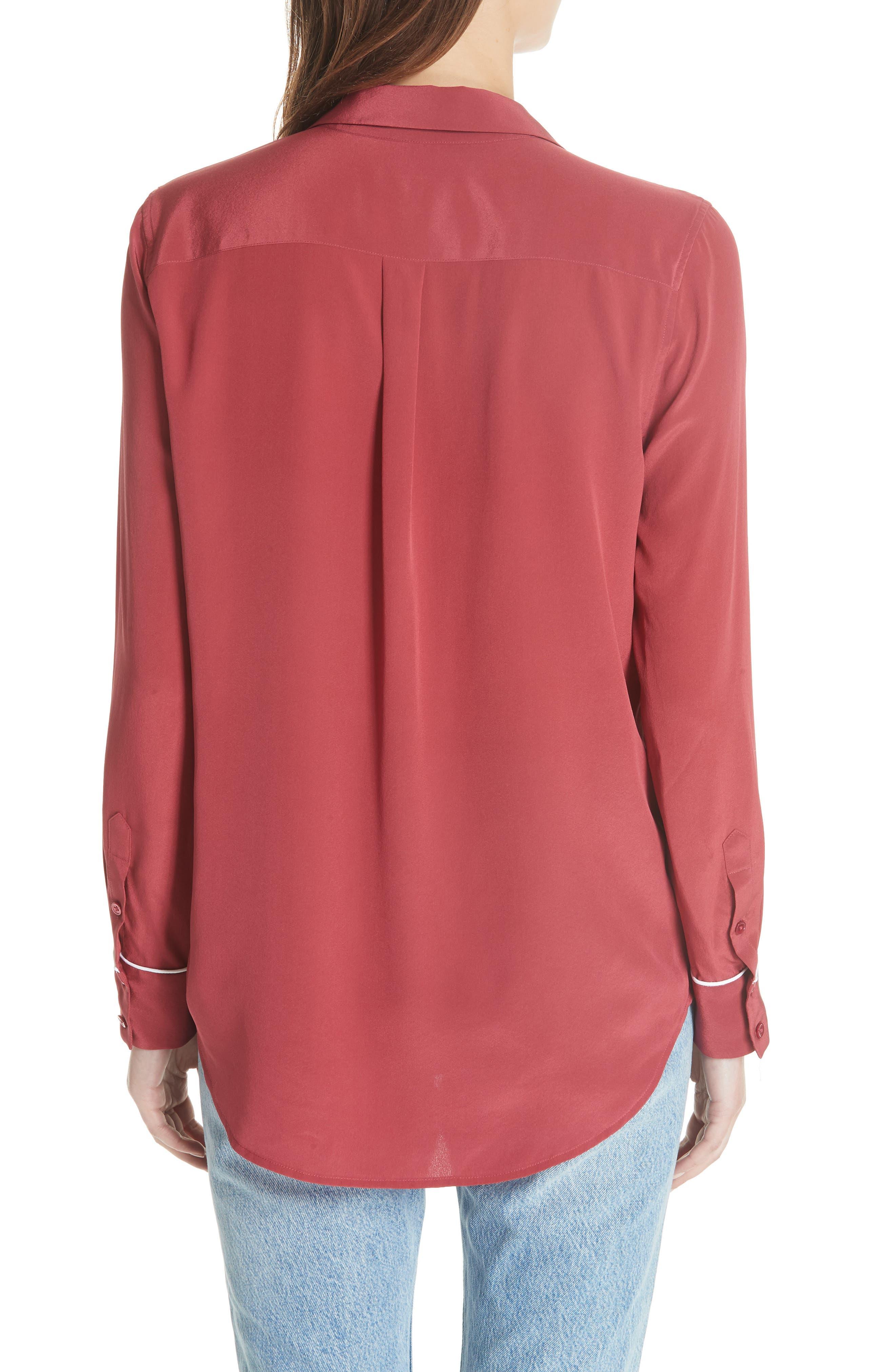 Keira Piped Silk Shirt,                             Alternate thumbnail 2, color,                             Pinot Noir