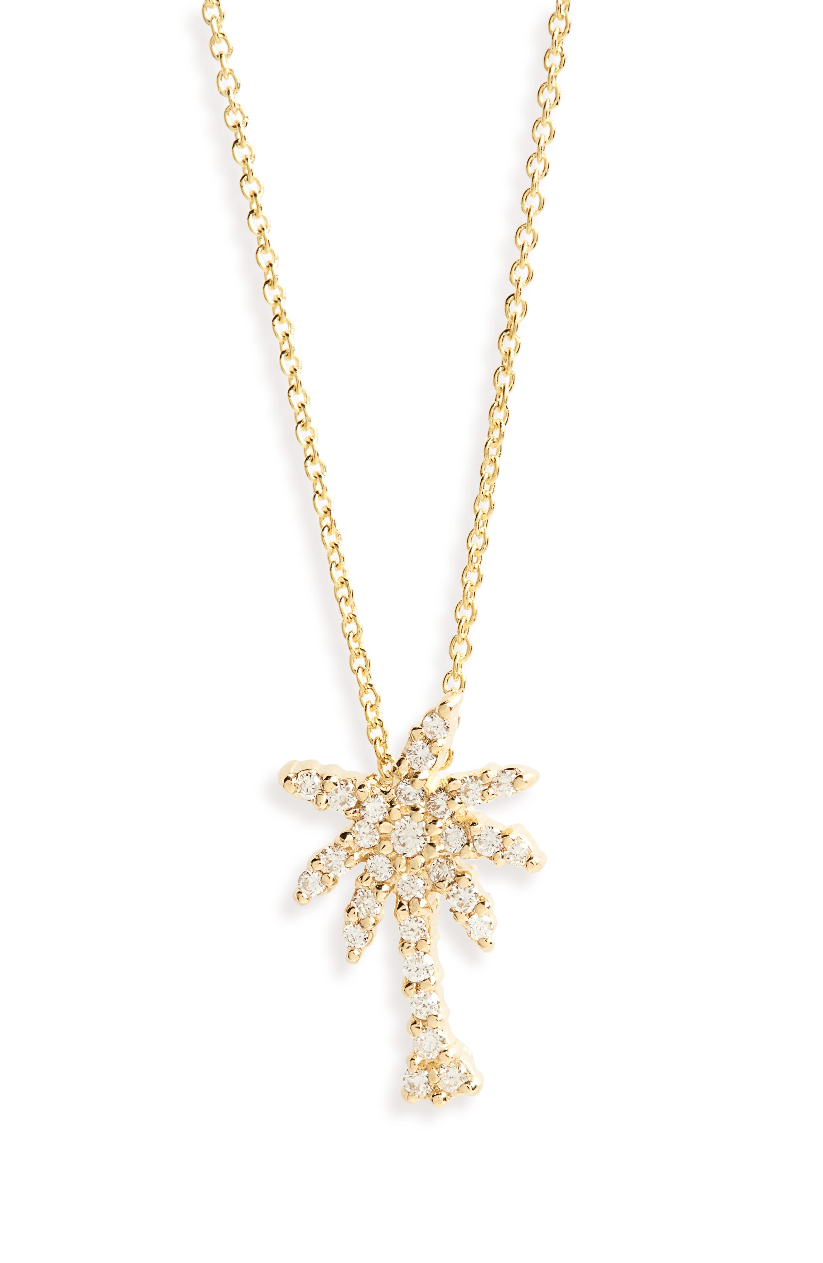 Diamond Palm Tree Necklace,                         Main,                         color, Yellow Gold