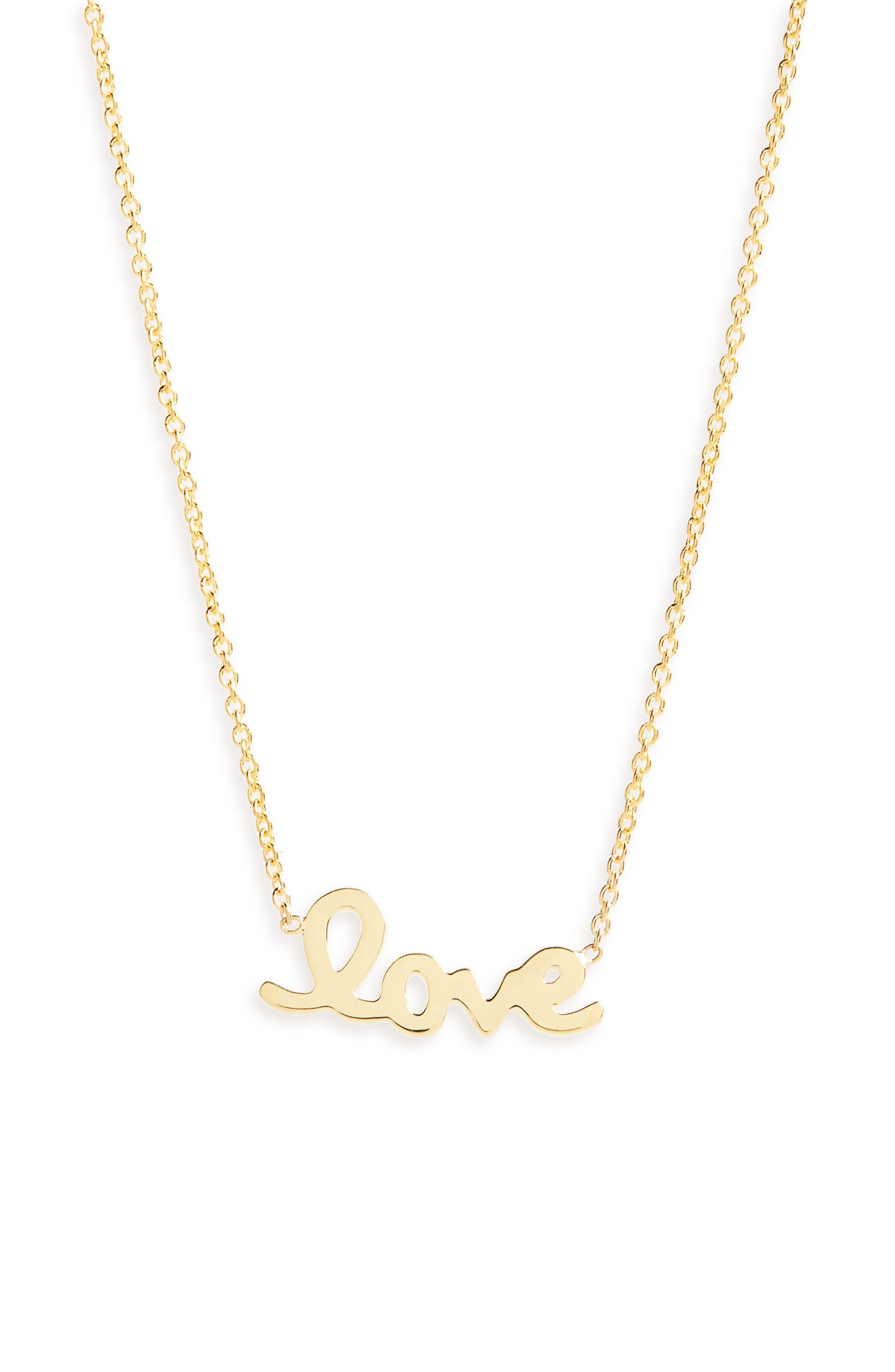 Script Love Necklace,                             Main thumbnail 1, color,                             Yellow Gold