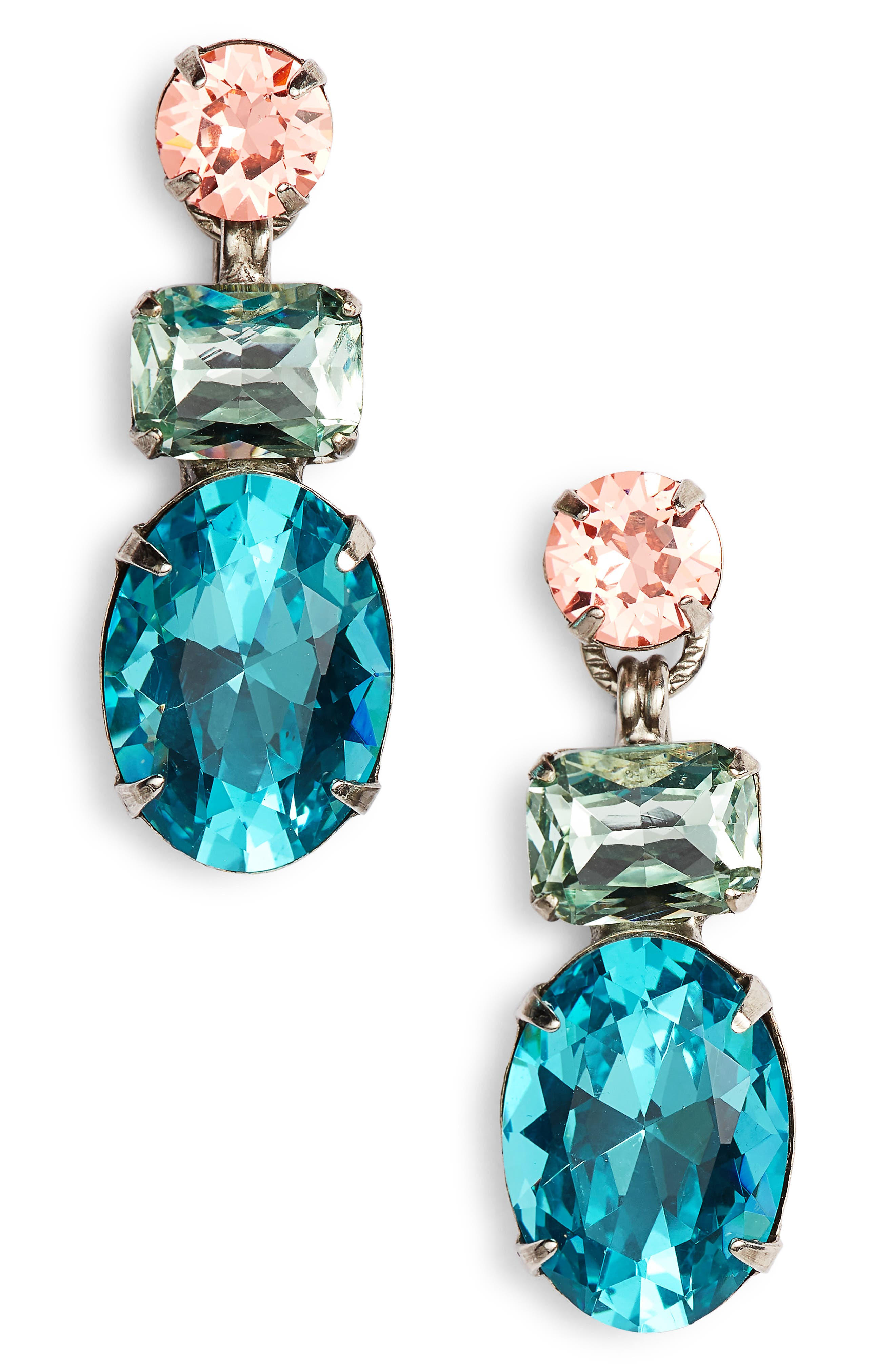 Forget Me Not Crystal Drop Earrings,                         Main,                         color, Blue