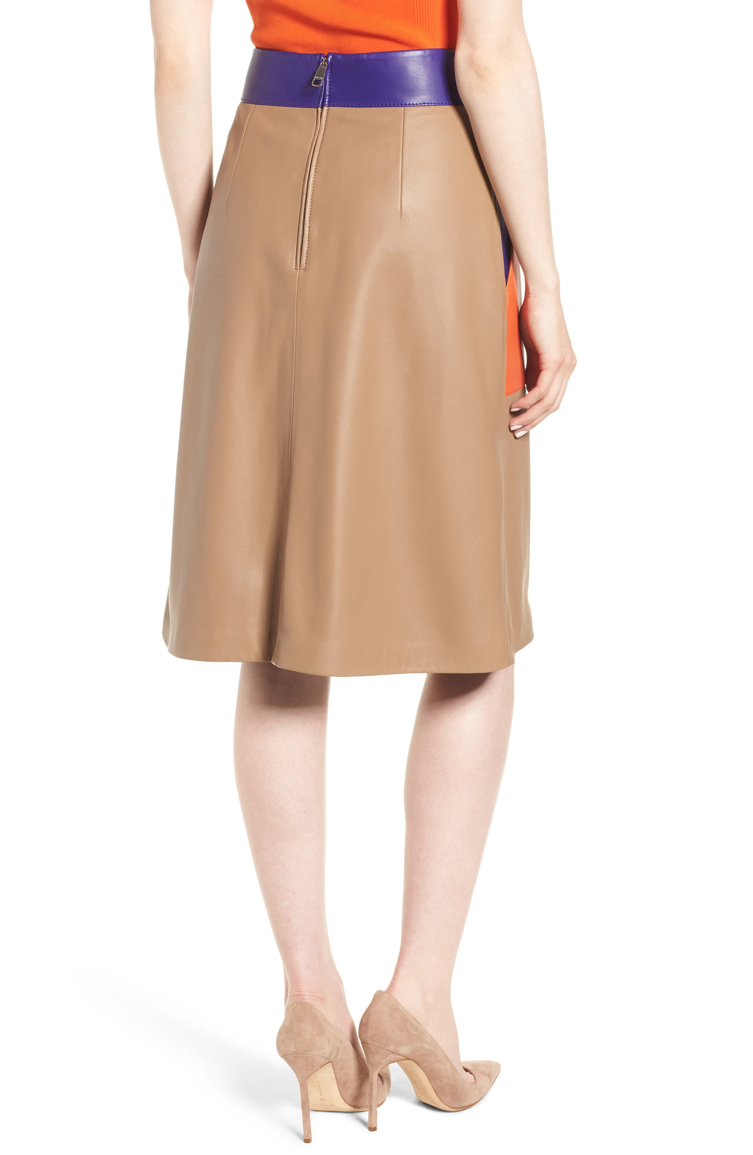 Seplea Colorblock Leather Skirt,                             Alternate thumbnail 2, color,                             Warm Clay Fantasy