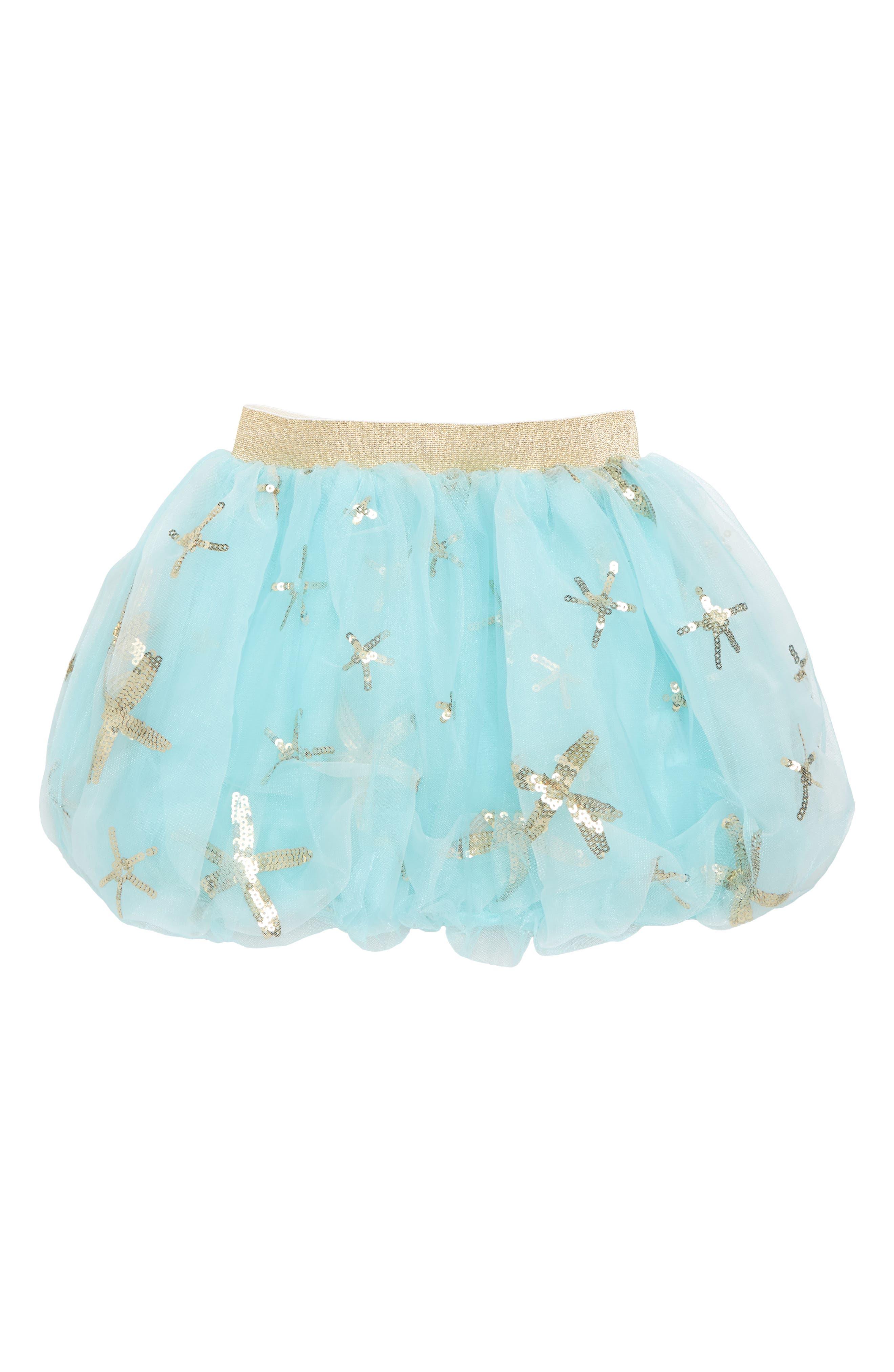 Starfish Bubble Tulle Skirt,                         Main,                         color, Aqua