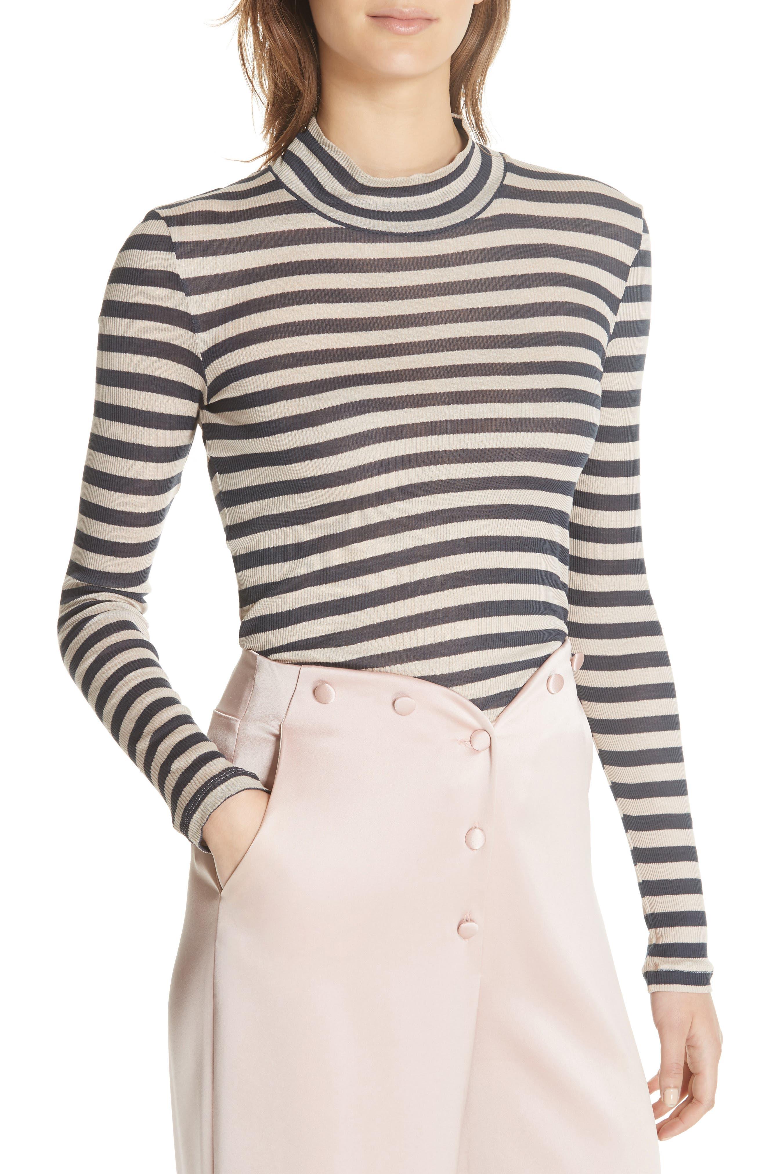 Alana Stripe Mock Neck Top,                             Alternate thumbnail 4, color,                             Navy Stripe