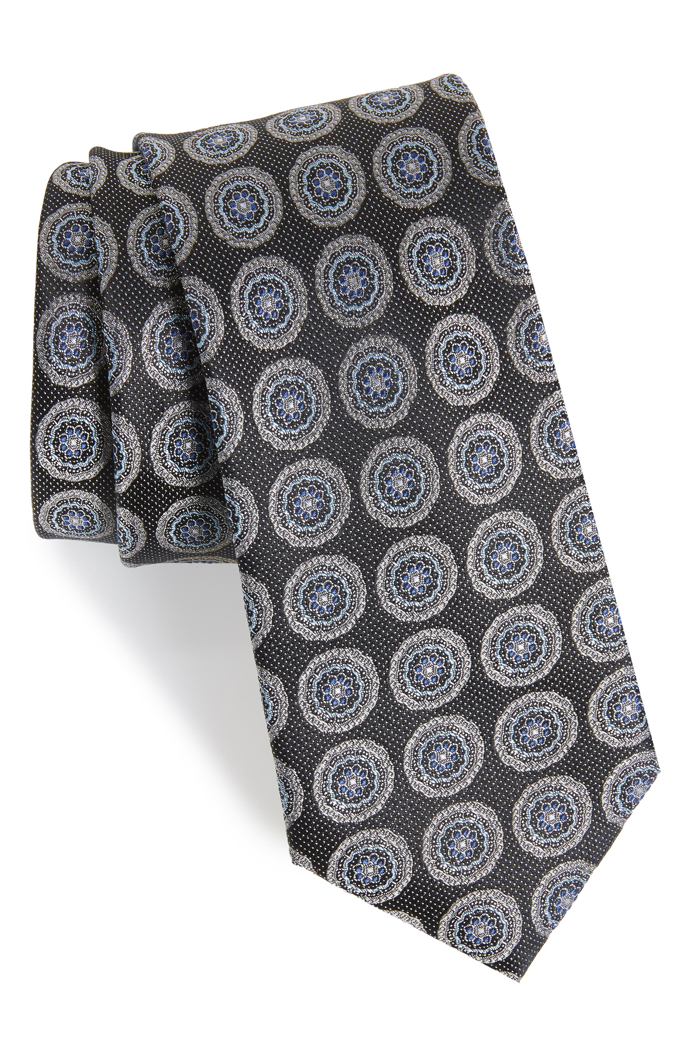 Pinpoint Medallion Silk Tie,                             Main thumbnail 1, color,                             Night