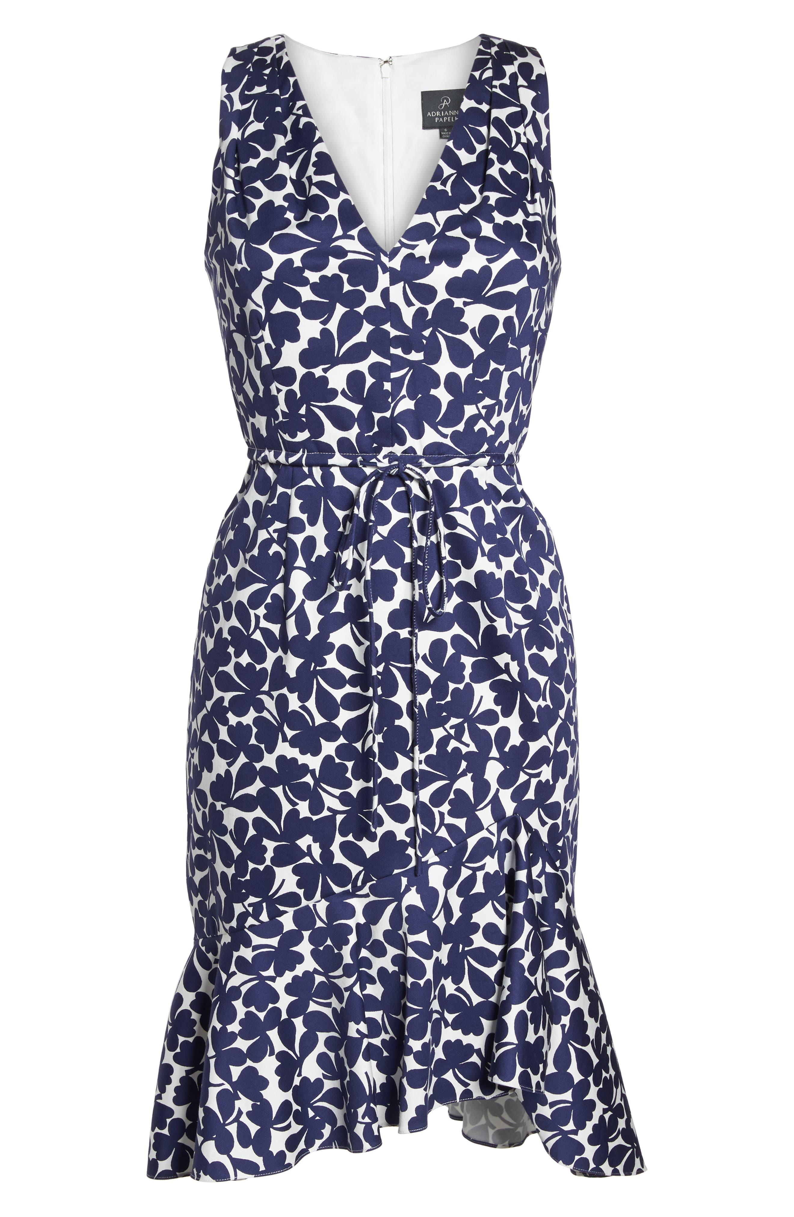 Lady Luck Print Cotton Sateen Dress,                             Alternate thumbnail 7, color,                             Navy/ Ivory