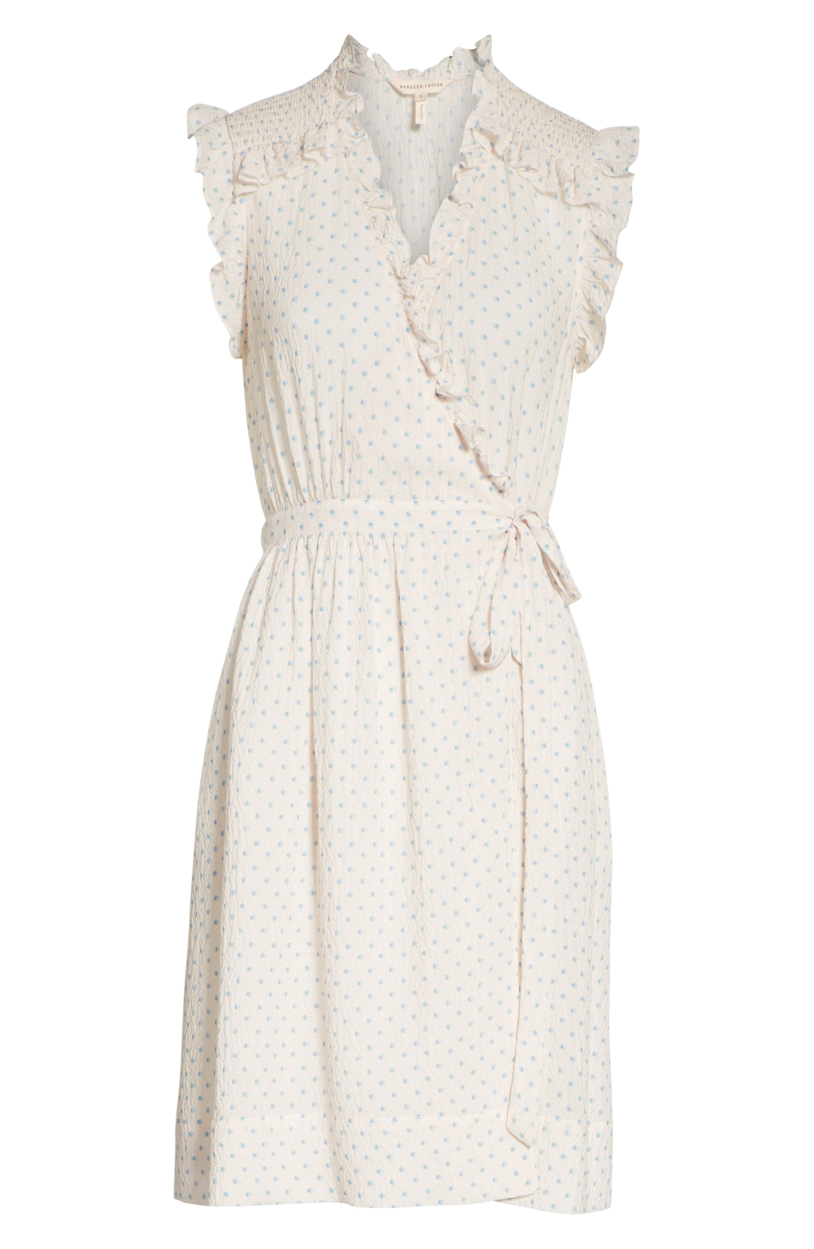 Dot Ruffle Faux Wrap Dress,                             Alternate thumbnail 6, color,                             Vanilla Combo