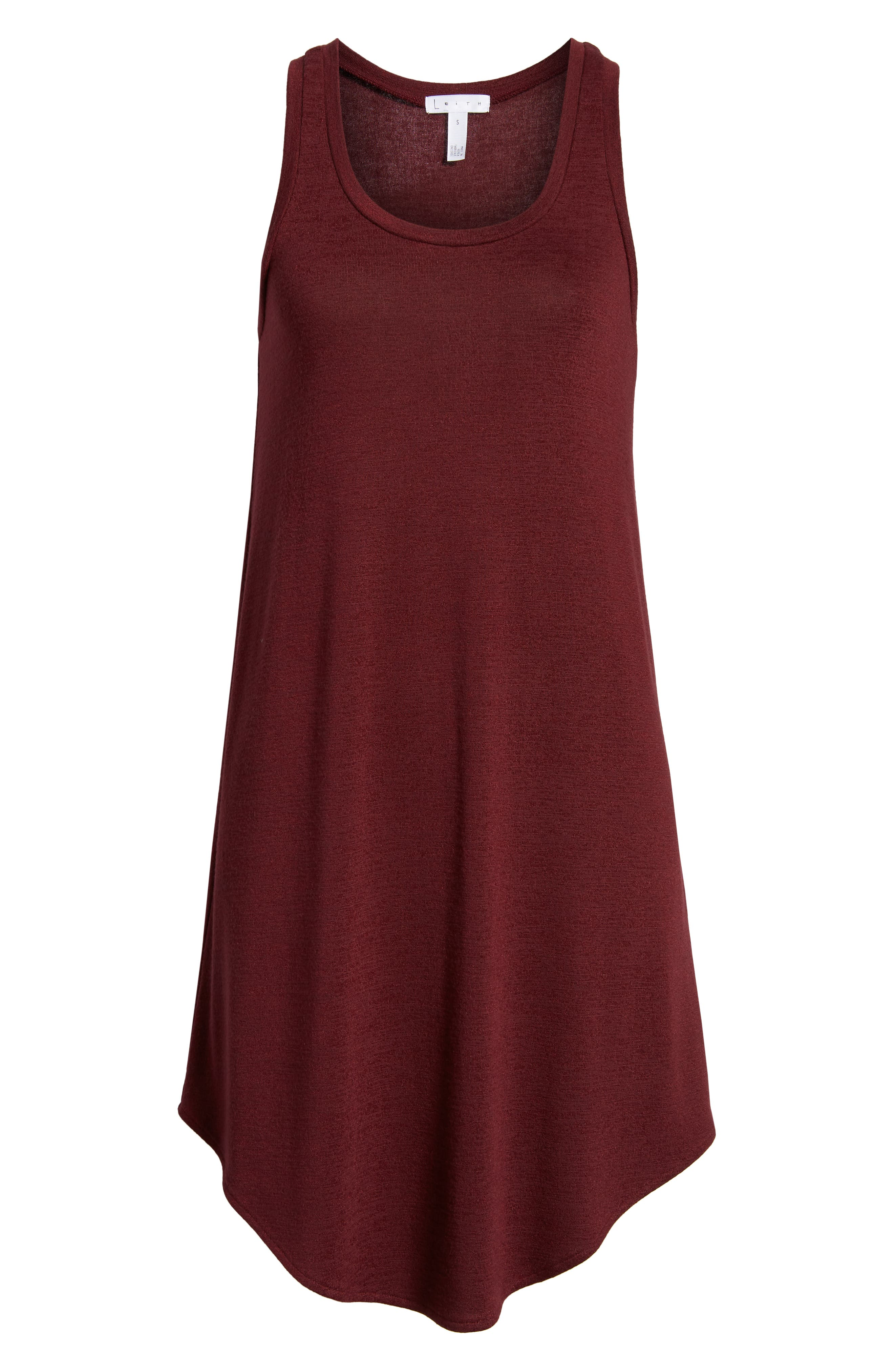 Tank Shift Dress,                             Alternate thumbnail 6, color,                             Red Tannin