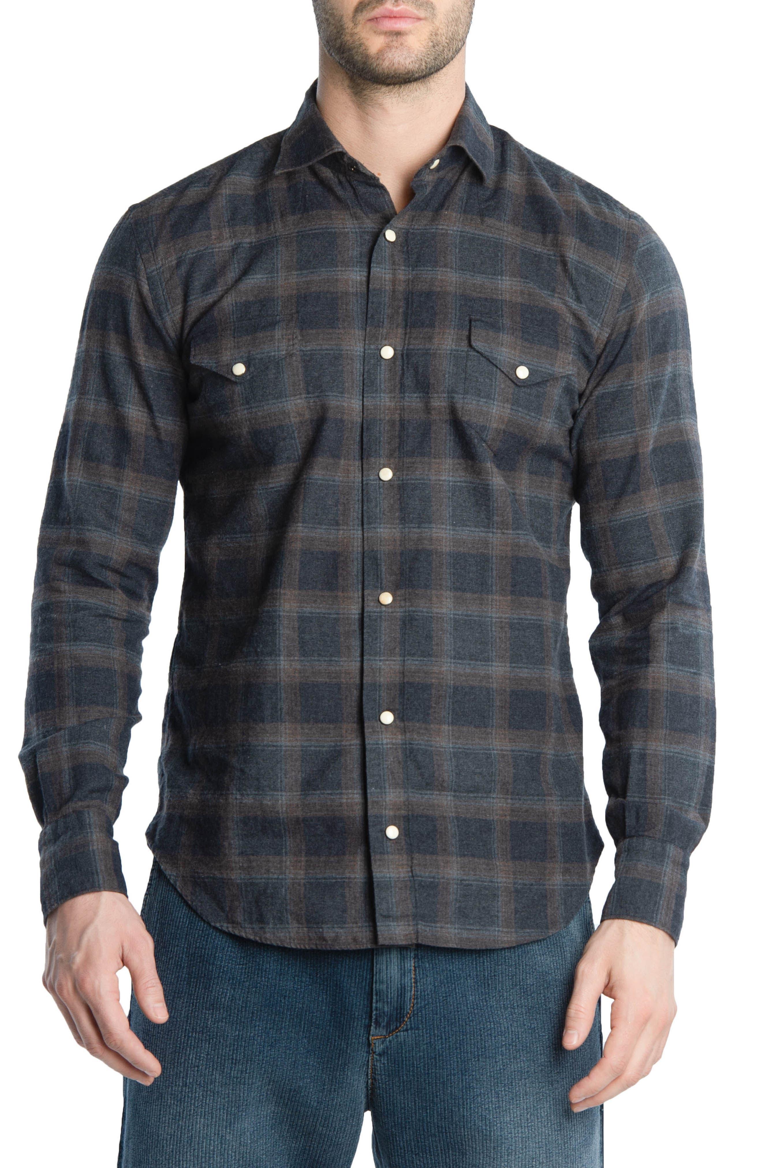 Slim Fit Plaid Western Shirt,                         Main,                         color, Grey/ Brown