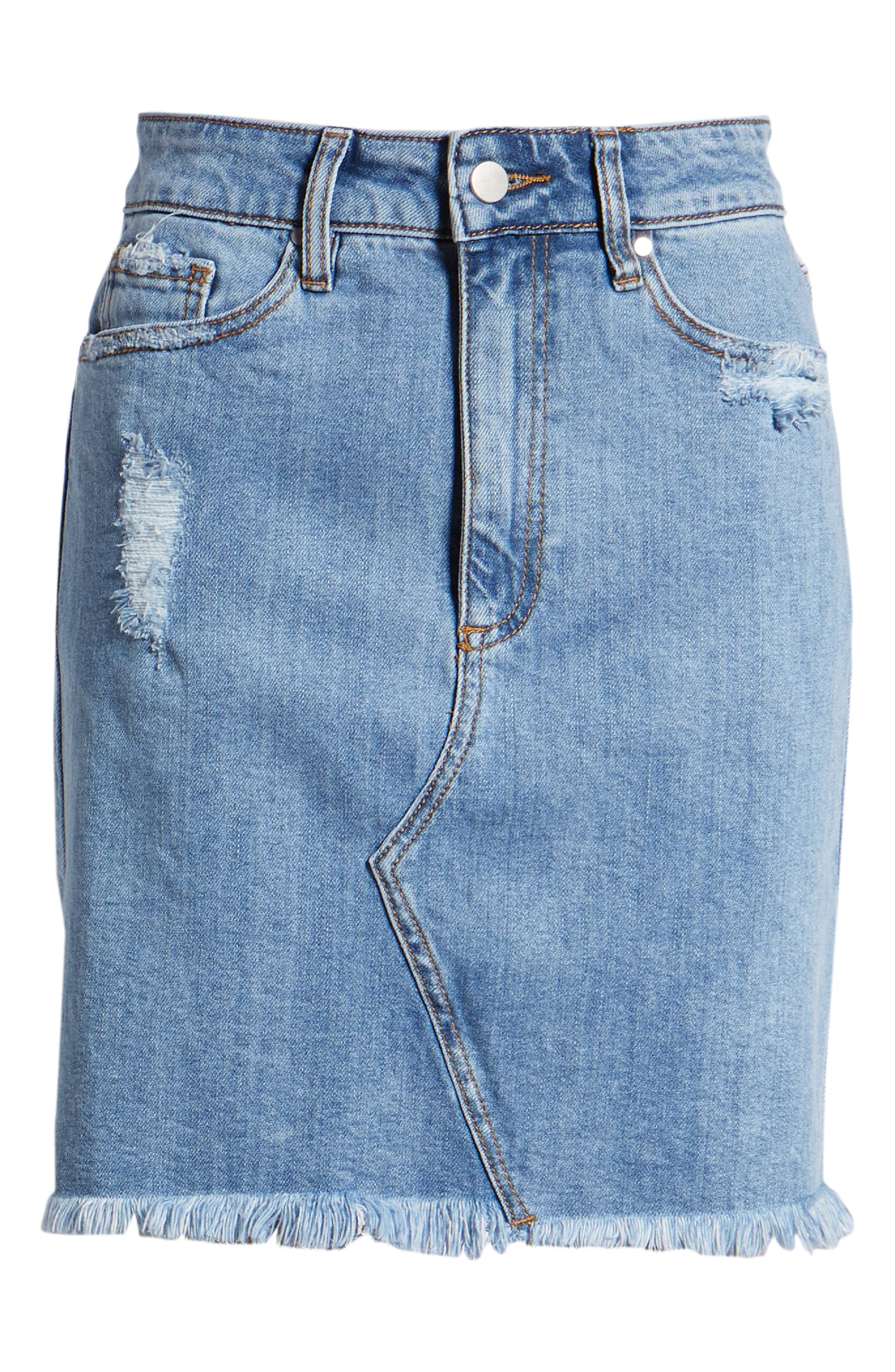 Distressed Denim Skirt,                             Alternate thumbnail 7, color,                             Light Wash