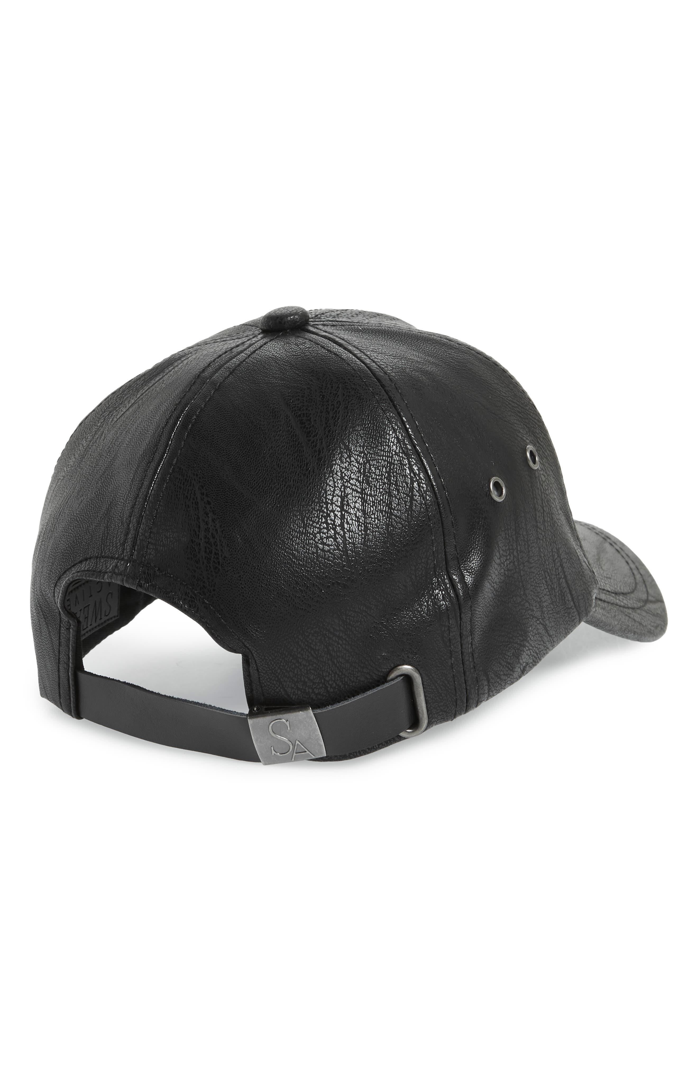 Faux Leather Baseball Cap,                             Alternate thumbnail 2, color,                             Black