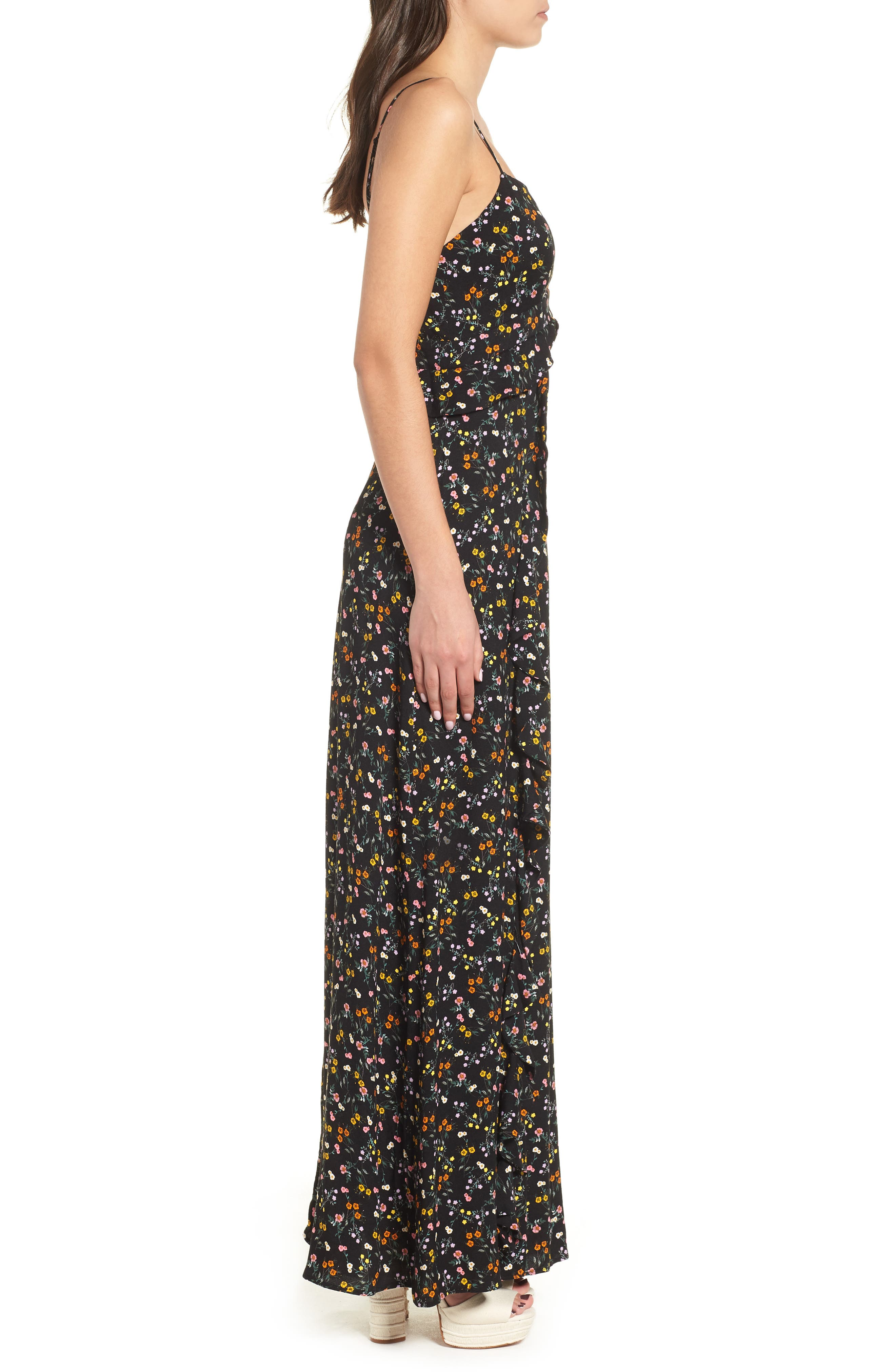 Kiki Ruffle Maxi Dress,                             Alternate thumbnail 3, color,                             Noir Petite Fleur