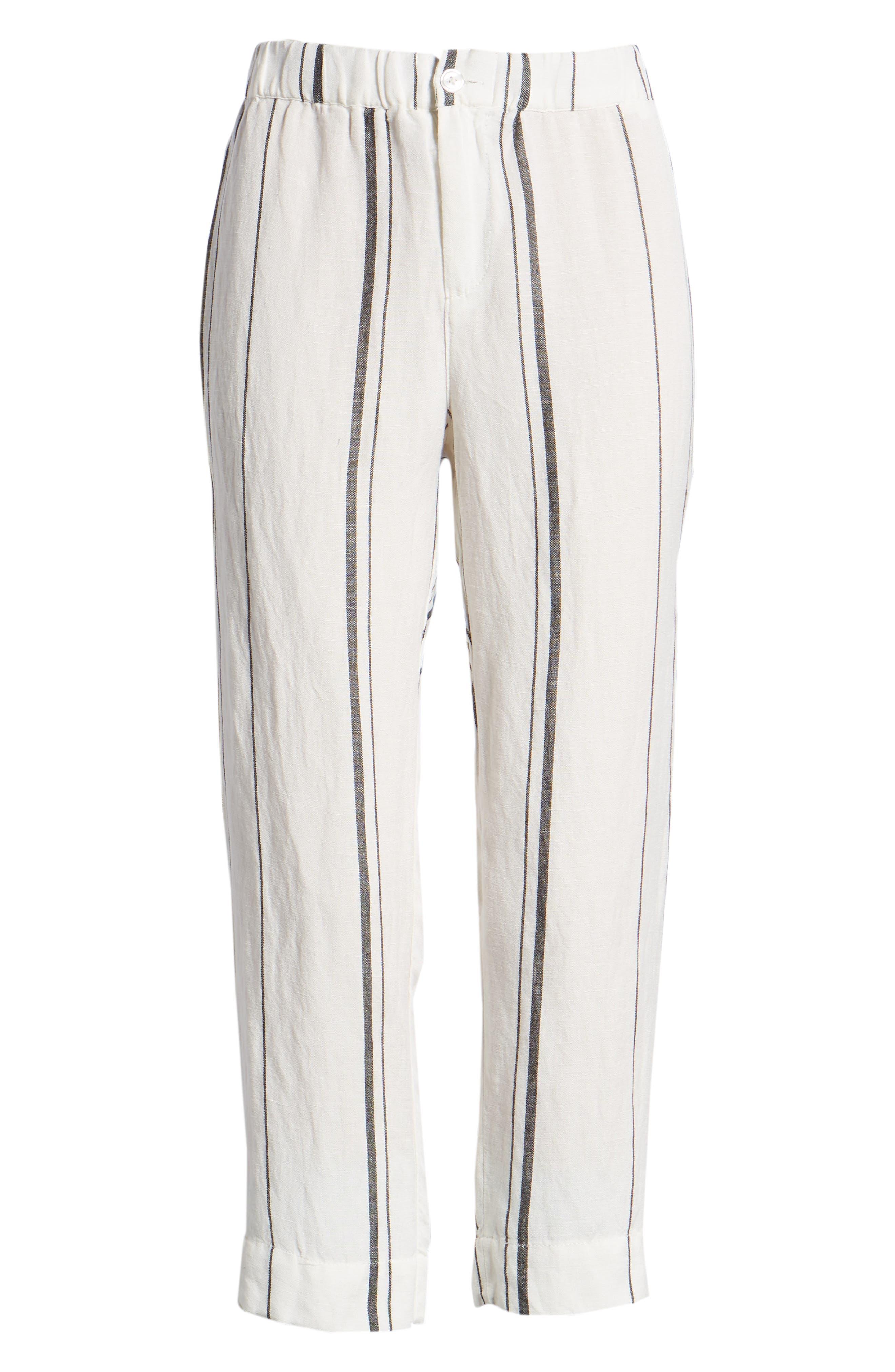 Annika Stripe Crop Pants,                             Alternate thumbnail 7, color,                             Black/ White