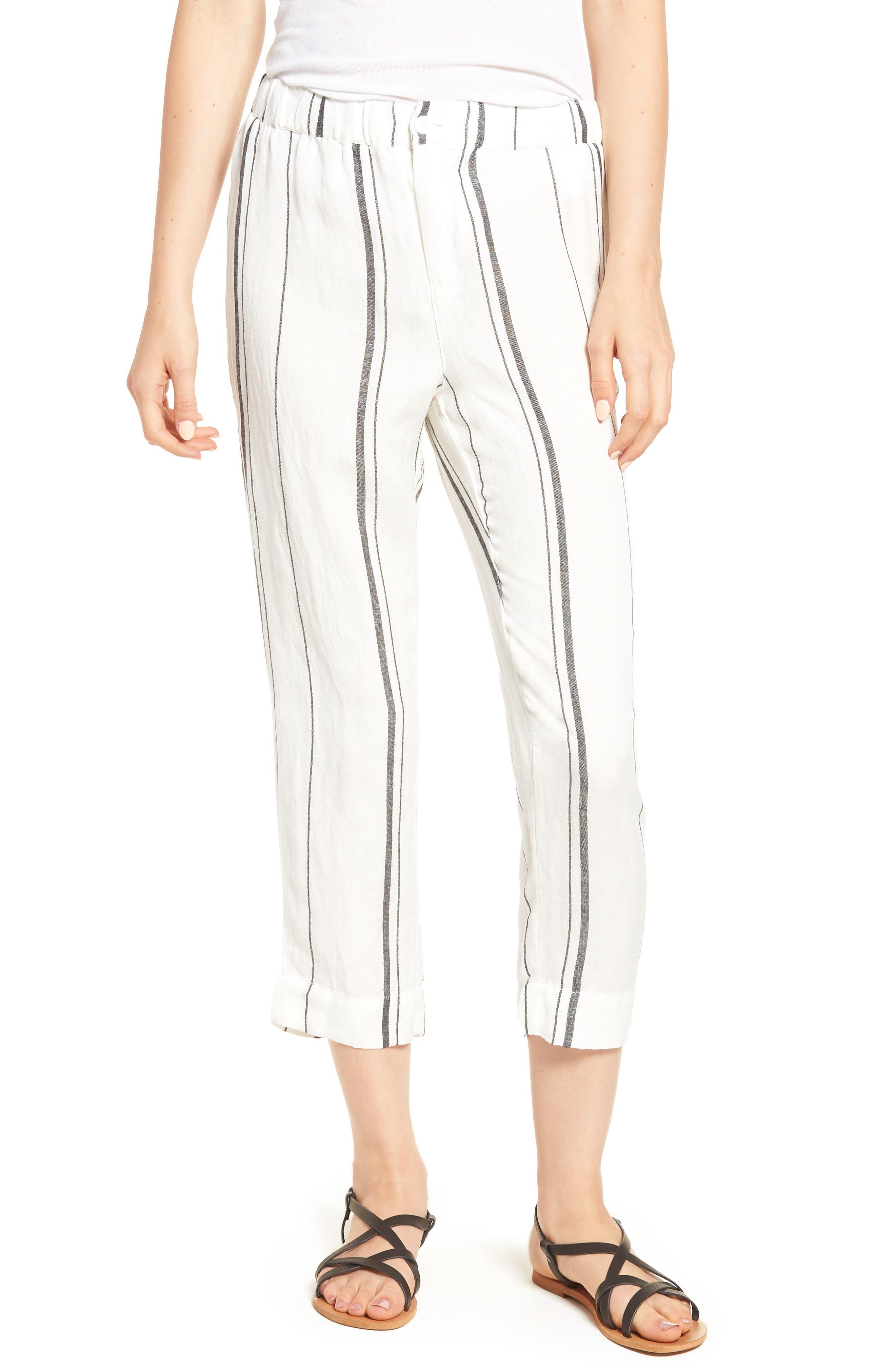 Annika Stripe Crop Pants,                         Main,                         color, Black/ White