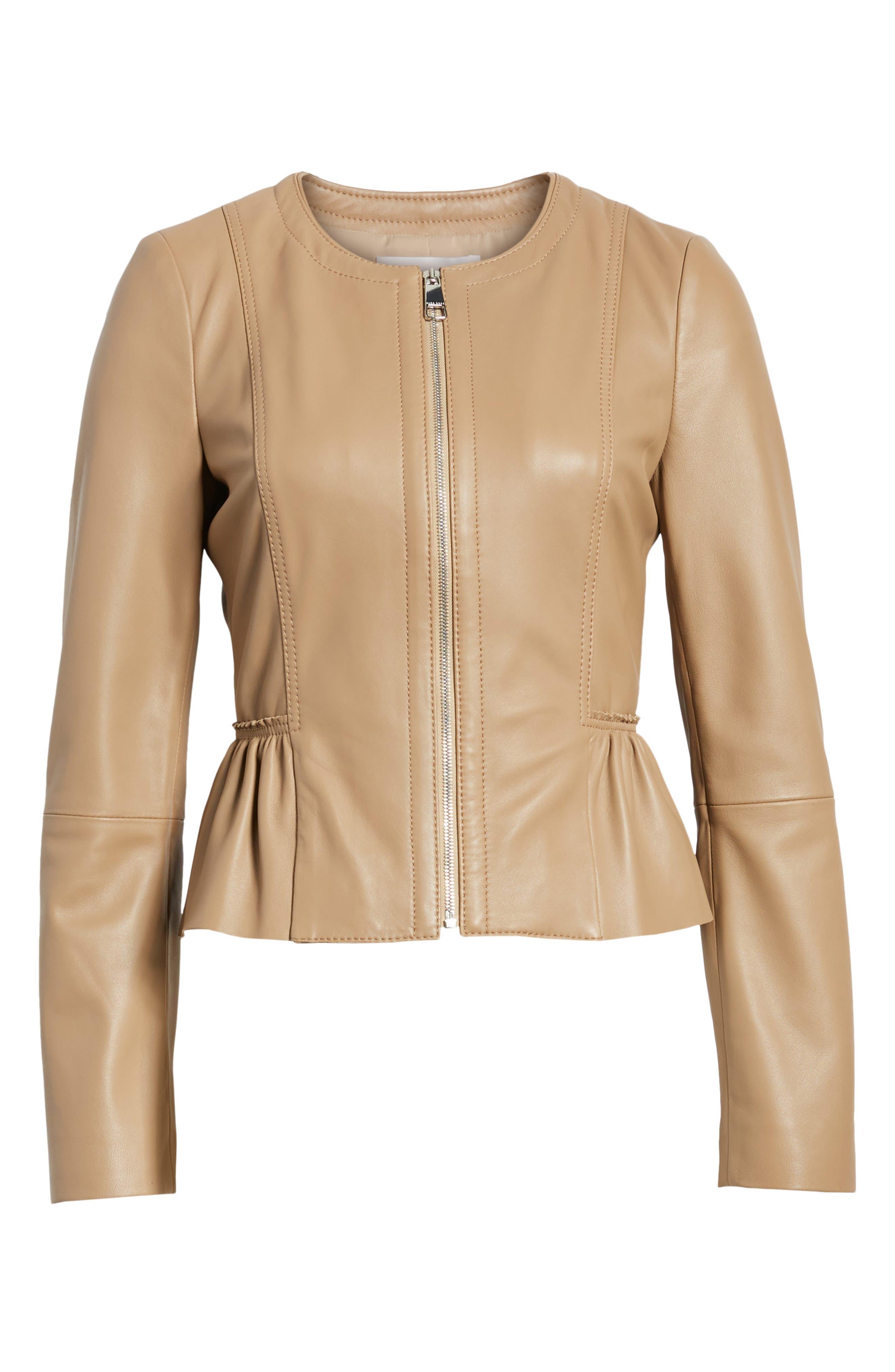 Sahota Leather Jacket,                             Alternate thumbnail 7, color,                             Warm Clay