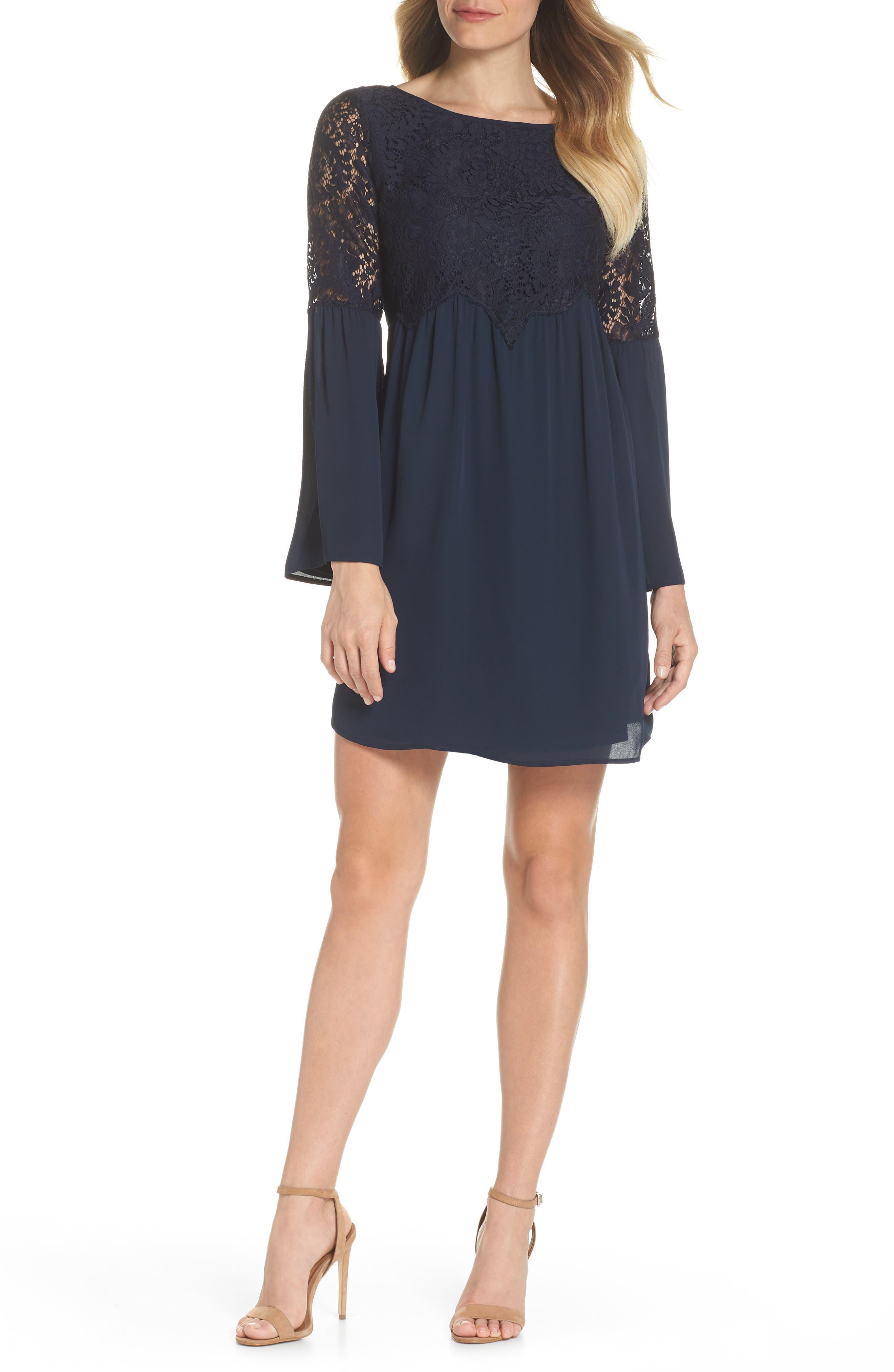 Chelsea28 Lace Top Bell Sleeve Shift Dress (Regular & Petite)