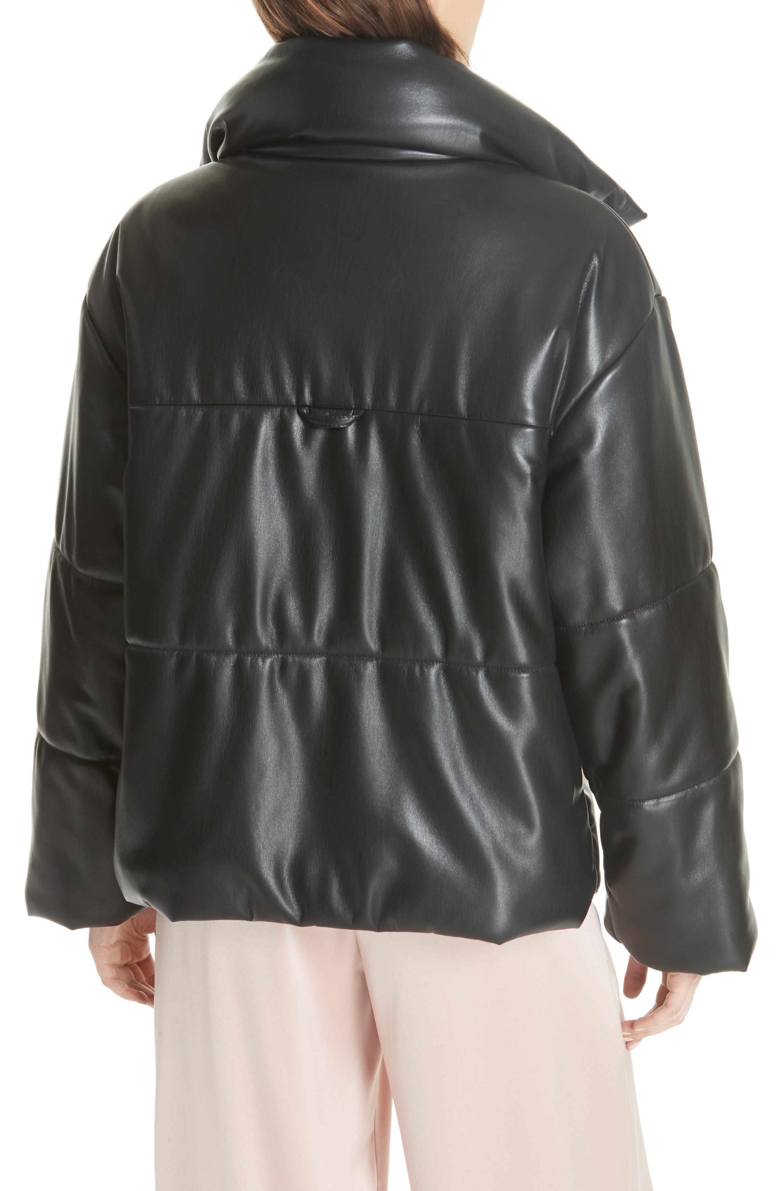 Hide Faux Leather Puffer Jacket,                             Alternate thumbnail 2, color,                             Black