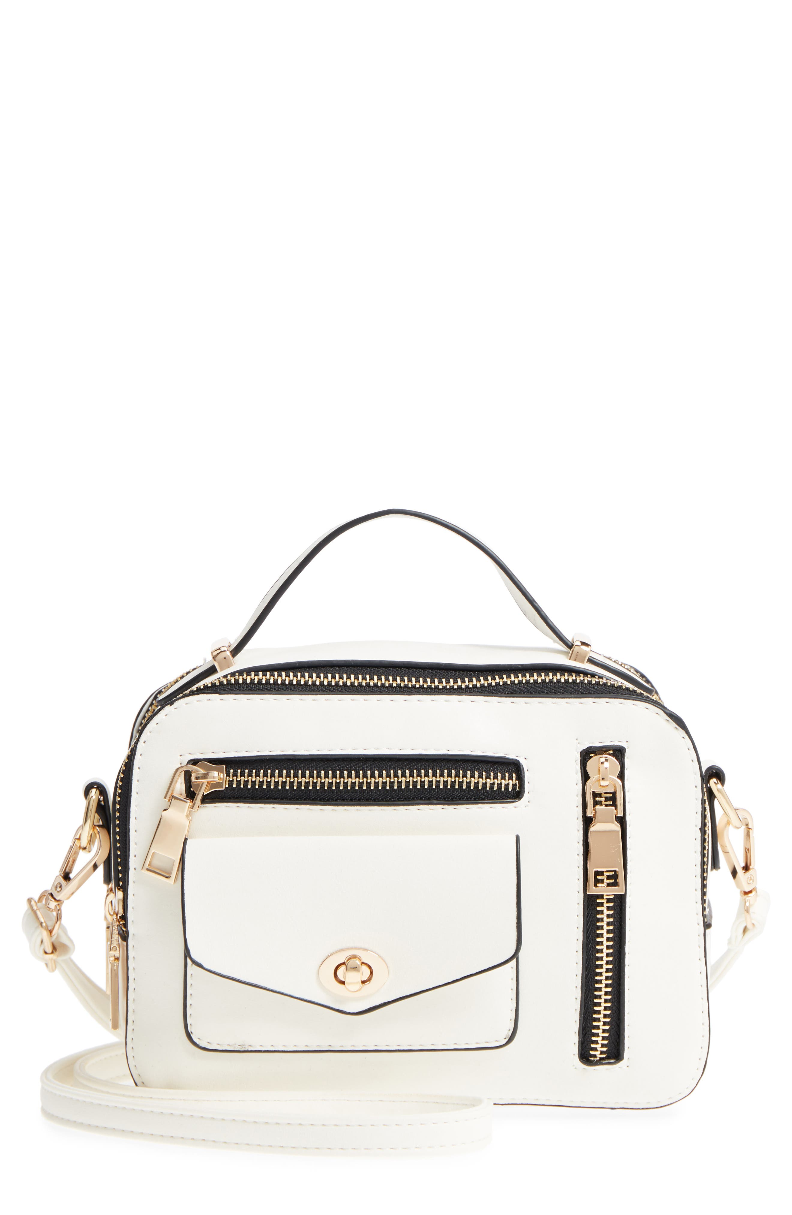 Multi-Zip Faux Leather Boxy Crossbody Bag,                         Main,                         color, White