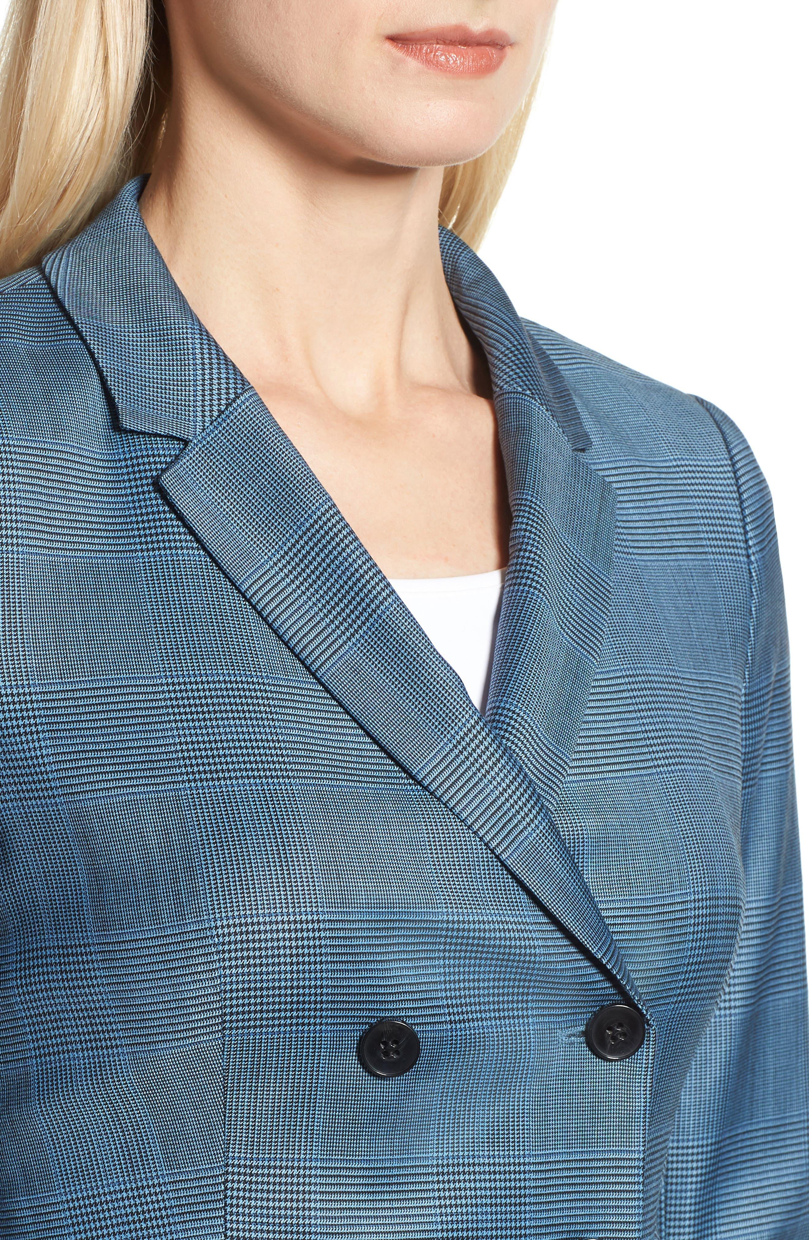 Jelaya Glencheck Double Breasted Suit Jacket,                             Alternate thumbnail 4, color,                             Sailor Blue Fantasy