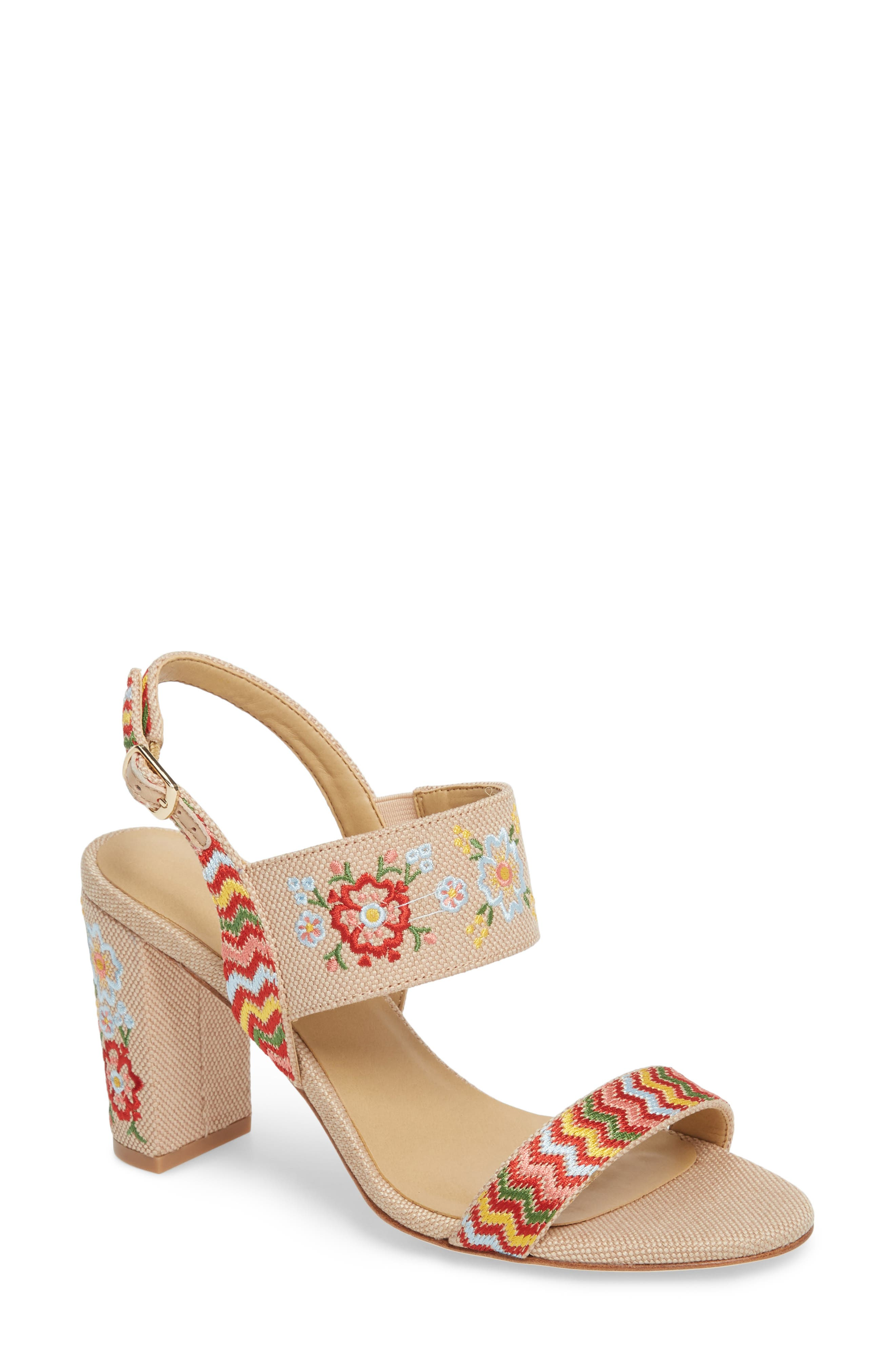 Biene Slingback Sandal,                             Main thumbnail 1, color,                             Natural Linen Fabric