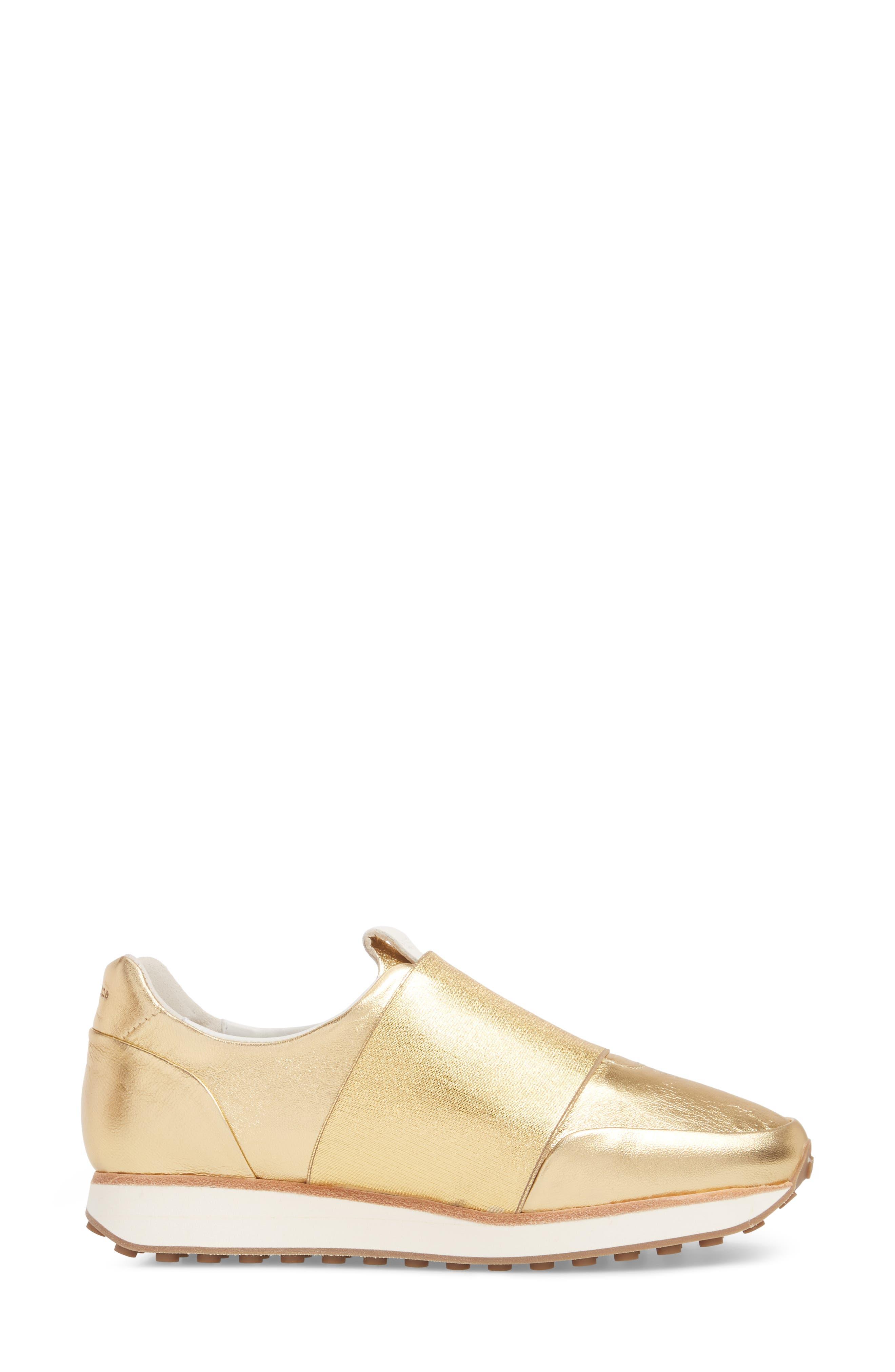 Dylan Sneaker,                             Alternate thumbnail 3, color,                             Gold