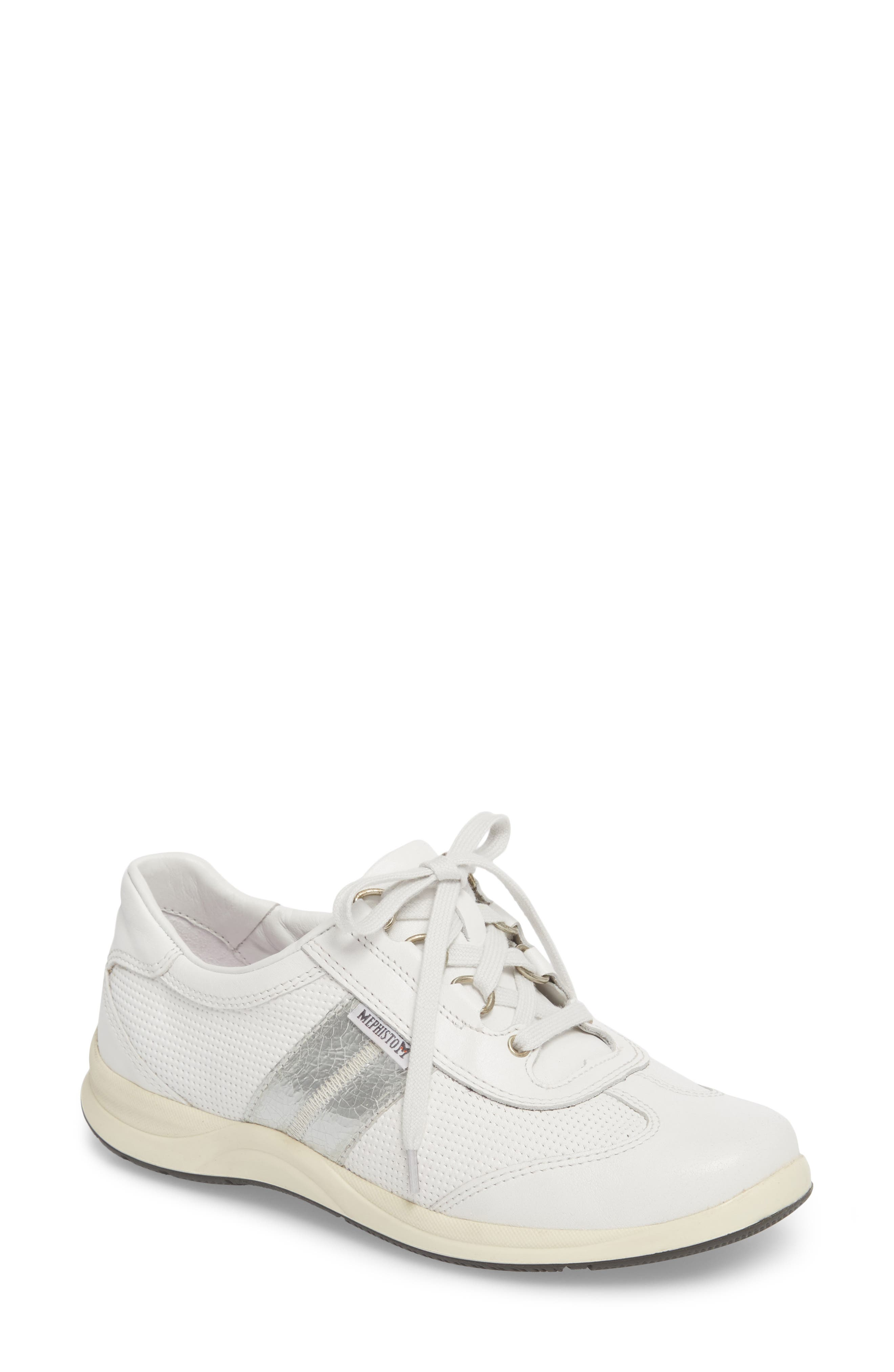 Laser Perforated Walking Shoe,                         Main,                         color, White Fabric