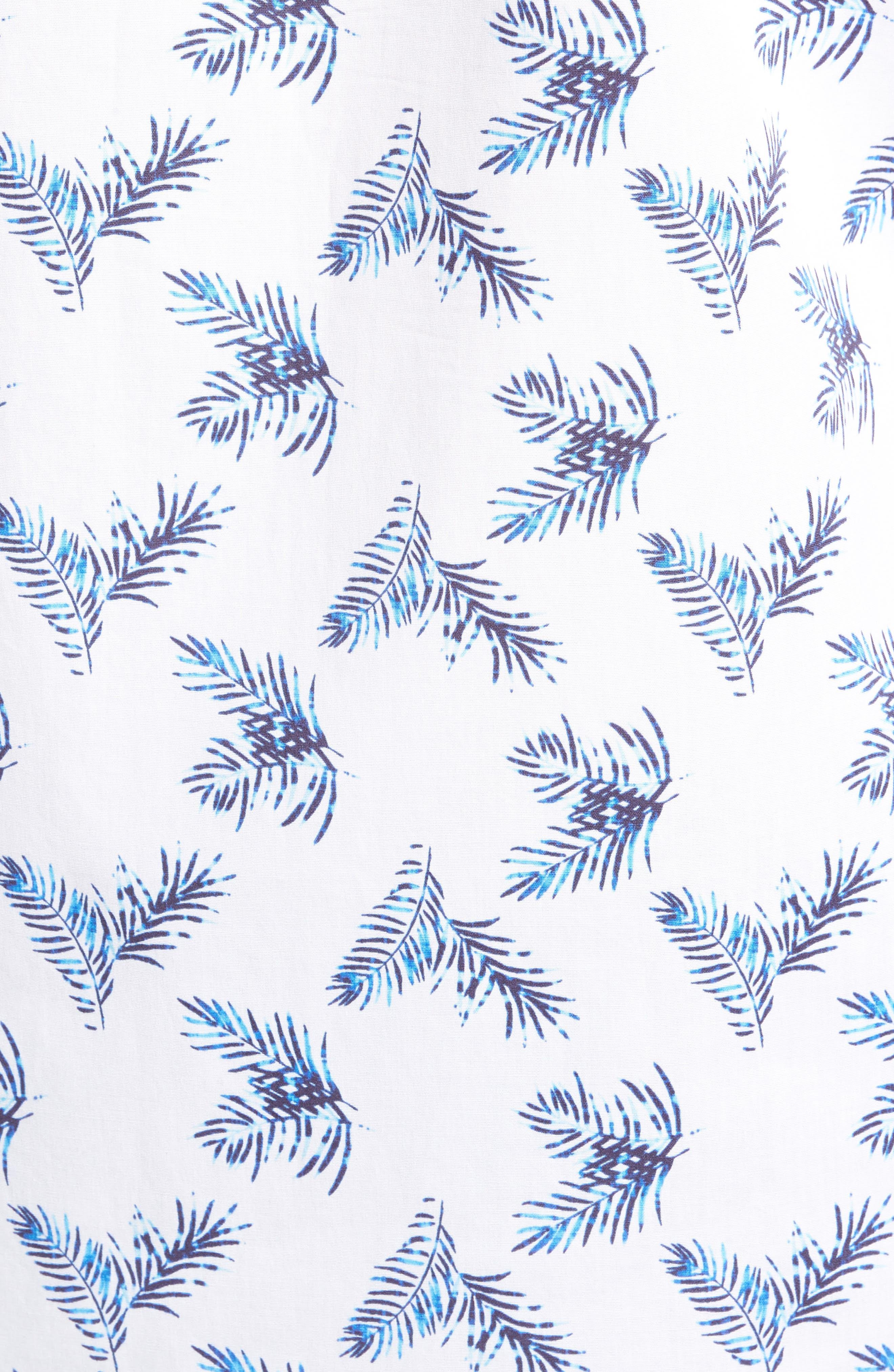 Trim Fit Palm Print Sport Shirt,                             Alternate thumbnail 5, color,                             White Blue Palm