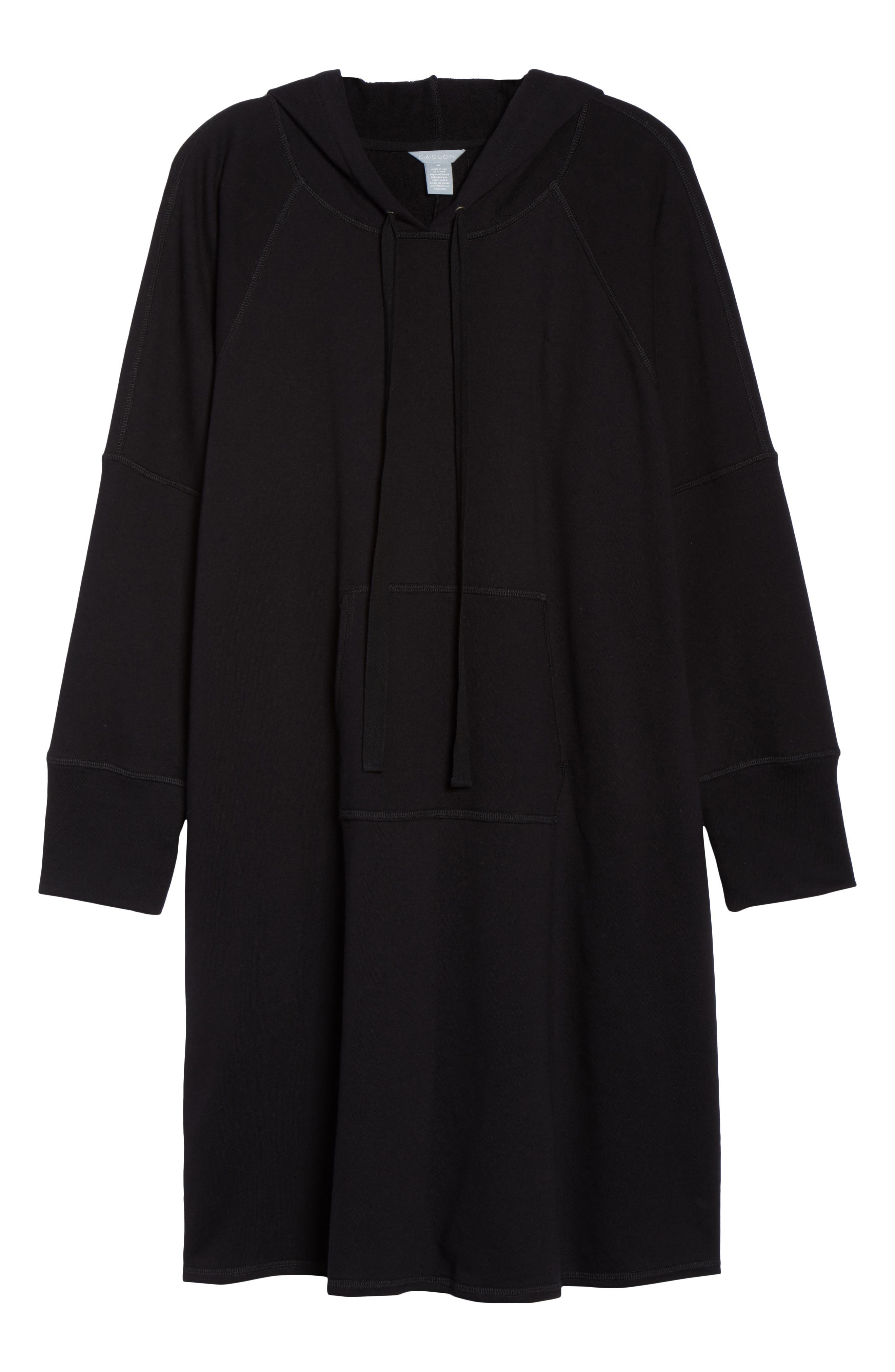 Hooded French Terry Dress,                             Alternate thumbnail 7, color,                             Black