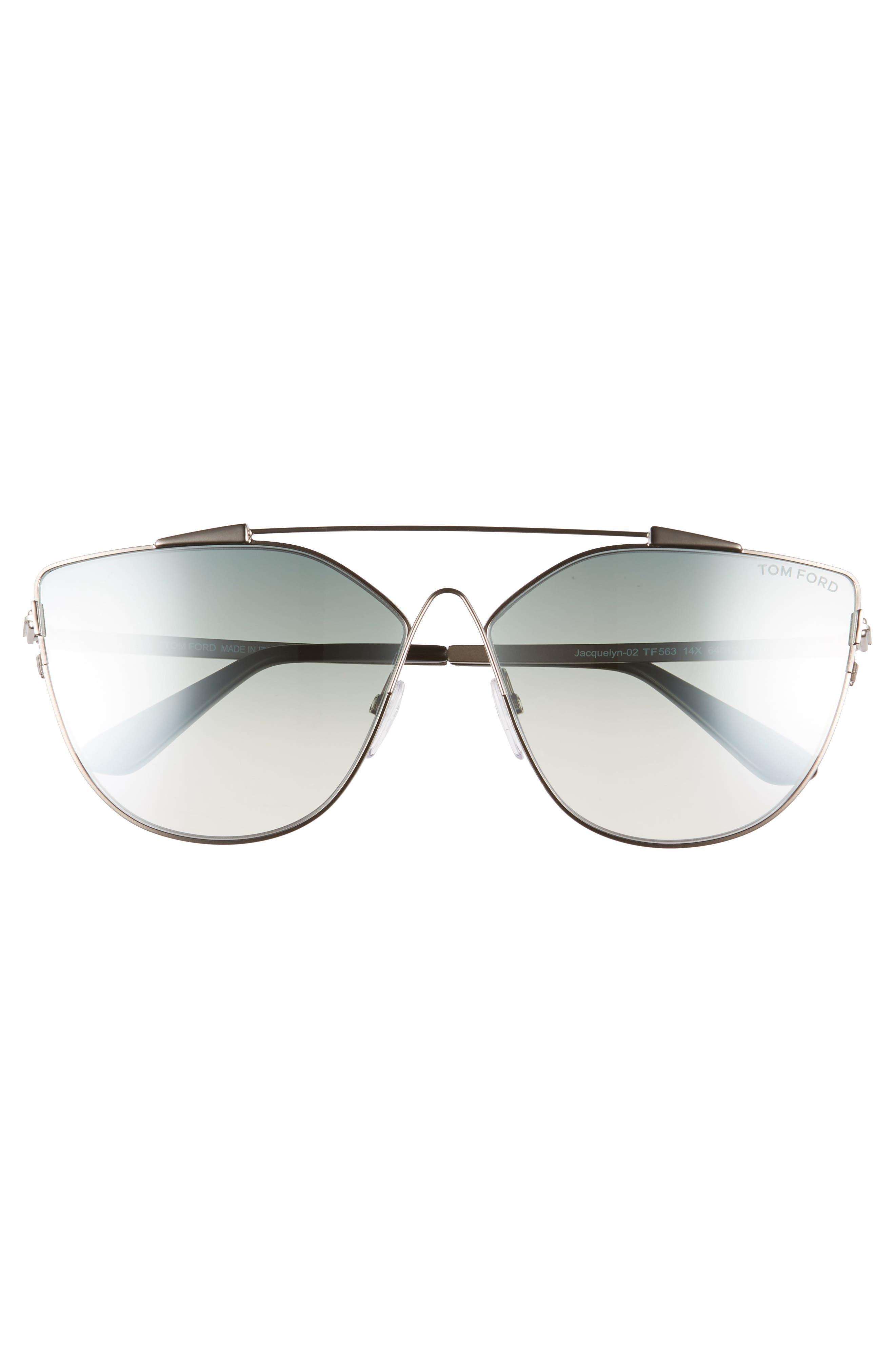 Jacquelyn 64mm Cat Eye Sunglasses,                             Alternate thumbnail 3, color,                             Light Ruthenium/ Blue Mirror