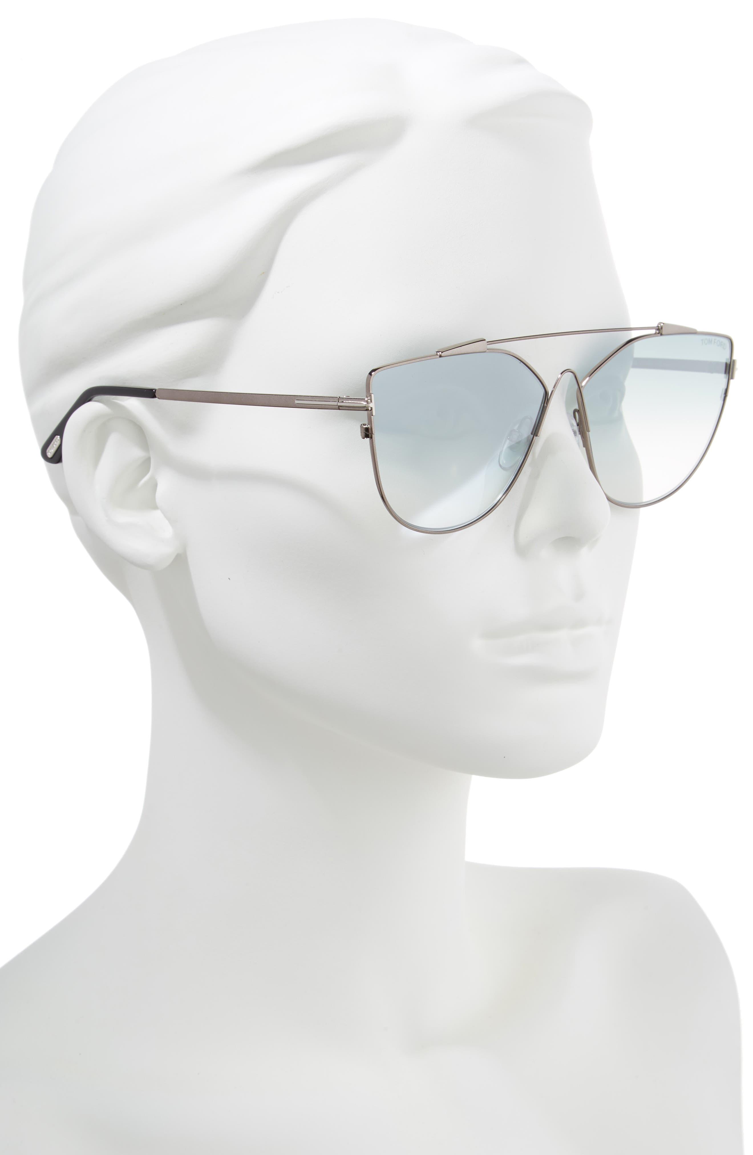 Jacquelyn 64mm Cat Eye Sunglasses,                             Alternate thumbnail 2, color,                             Light Ruthenium/ Blue Mirror