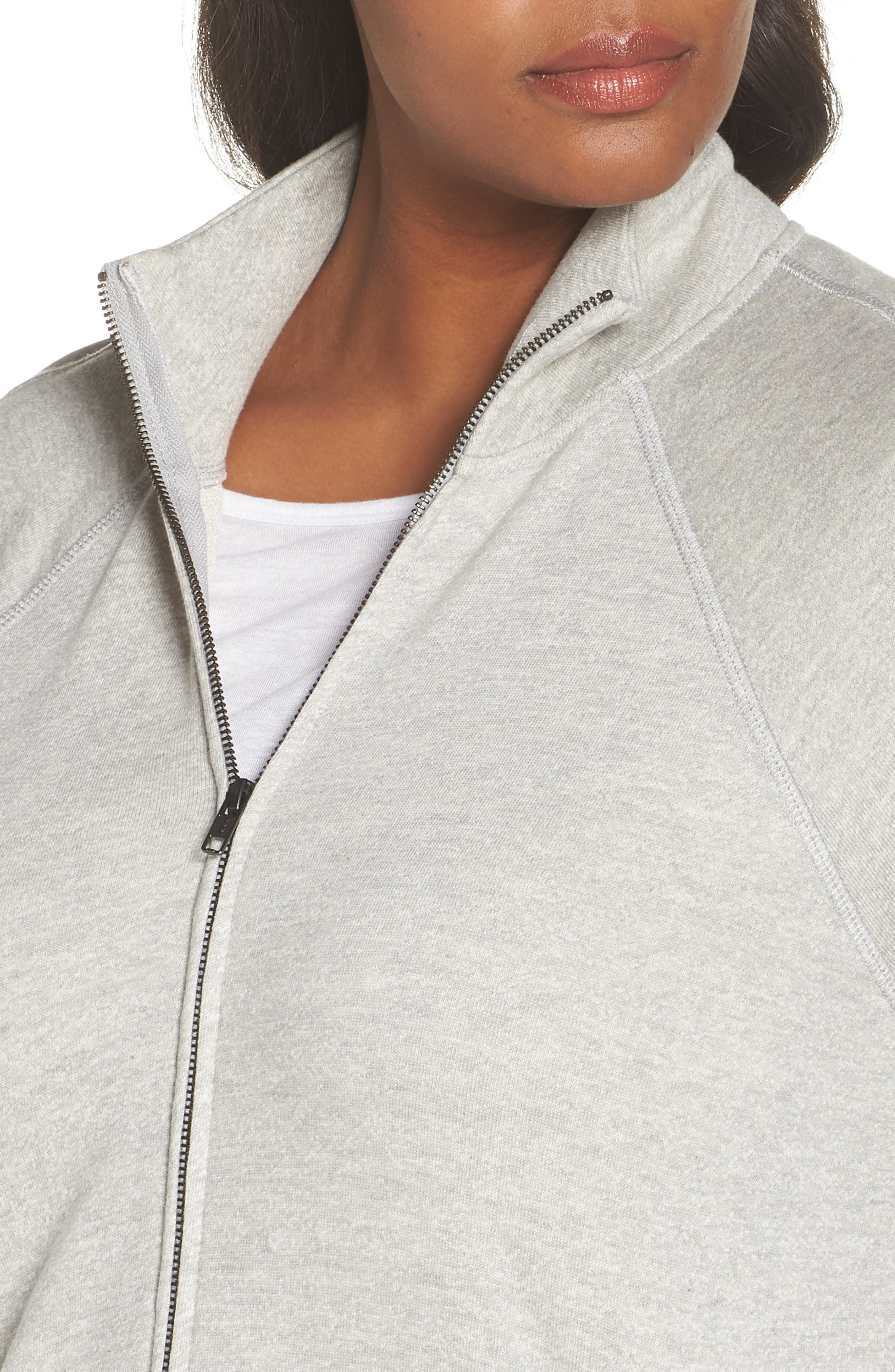 Off-Duty Knit Track Jacket,                             Alternate thumbnail 4, color,                             Grey Heather