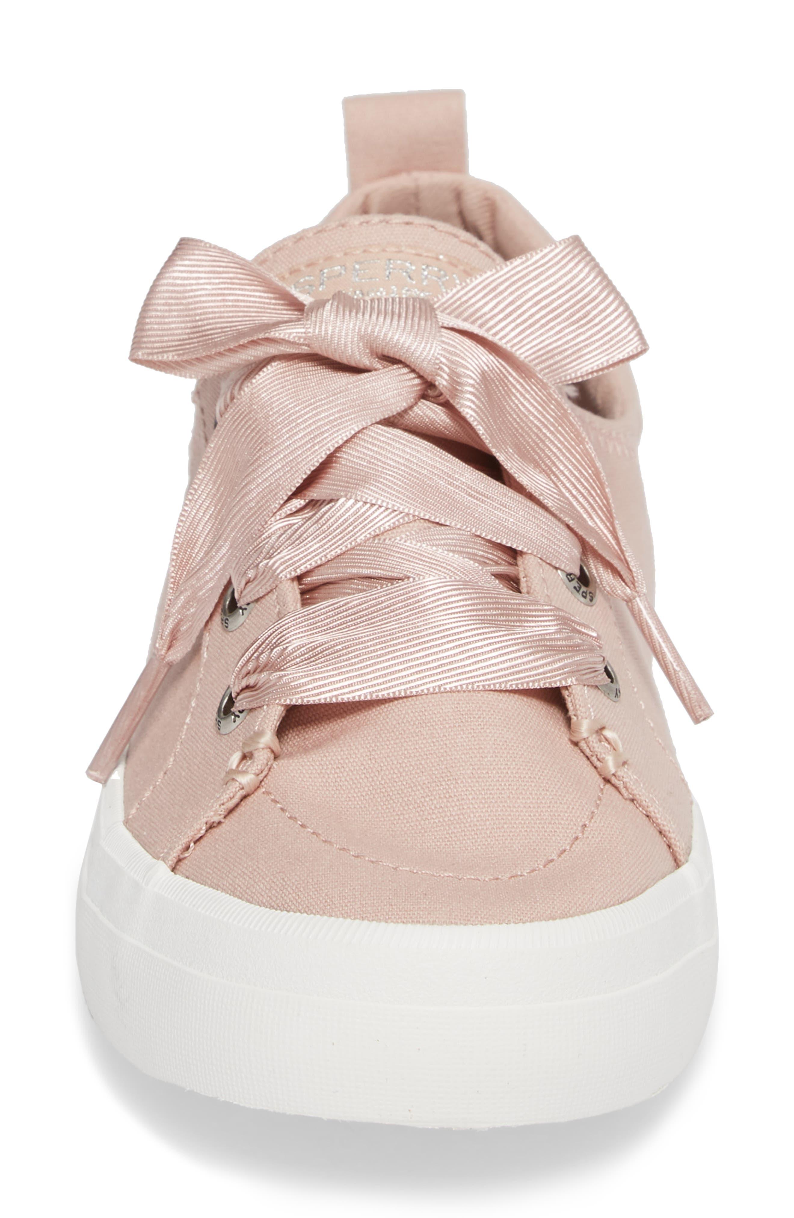 Crest Vibe Satin Lace Sneaker,                             Alternate thumbnail 4, color,                             Rose Dust Canvas