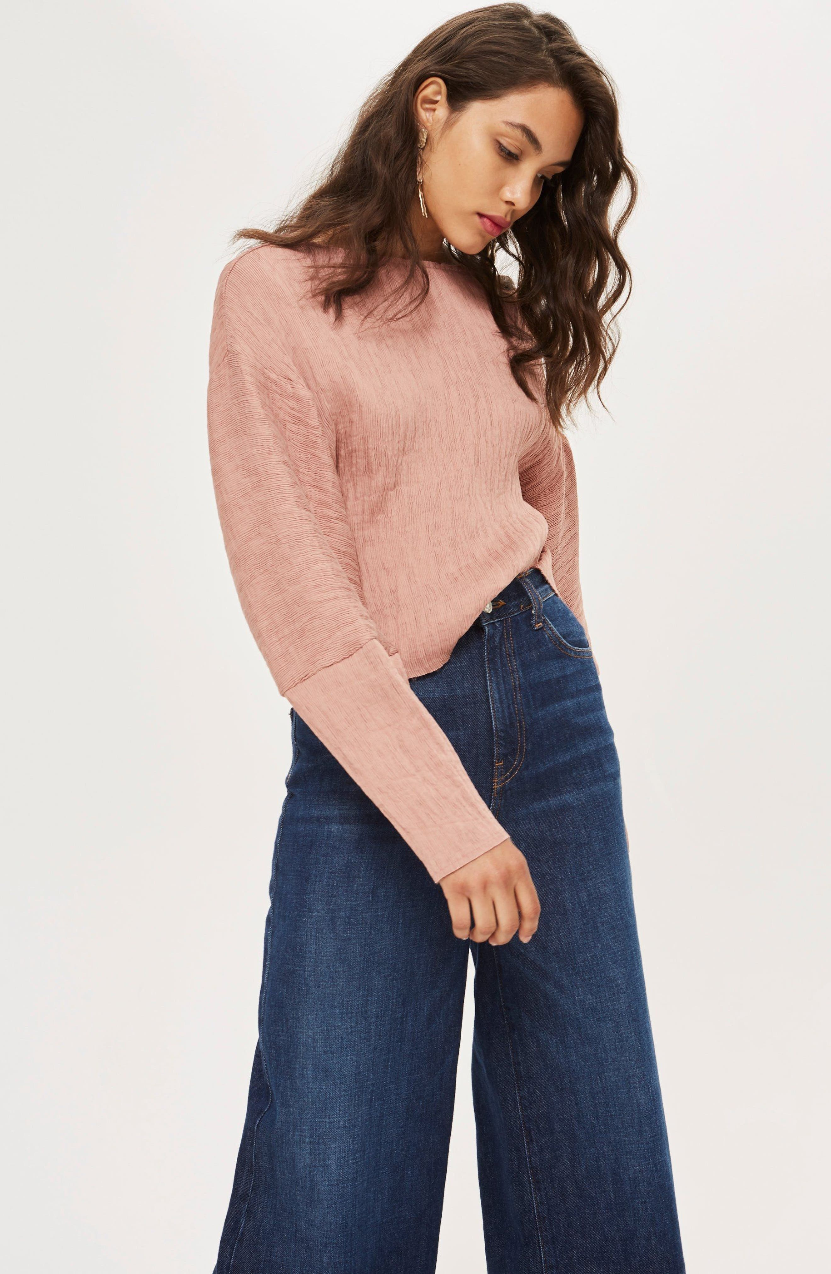 Textured Crinkle Top,                             Alternate thumbnail 2, color,                             Rose