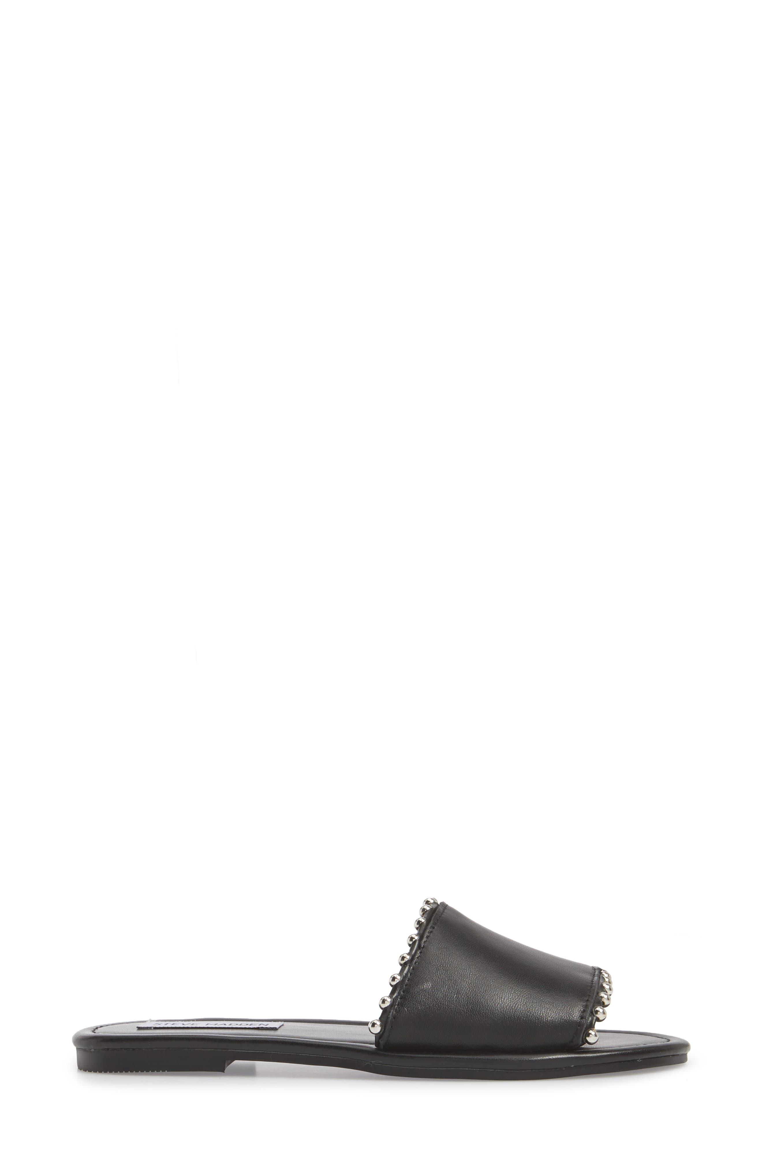 Brew Slide Sandal,                             Alternate thumbnail 3, color,                             Black Leather