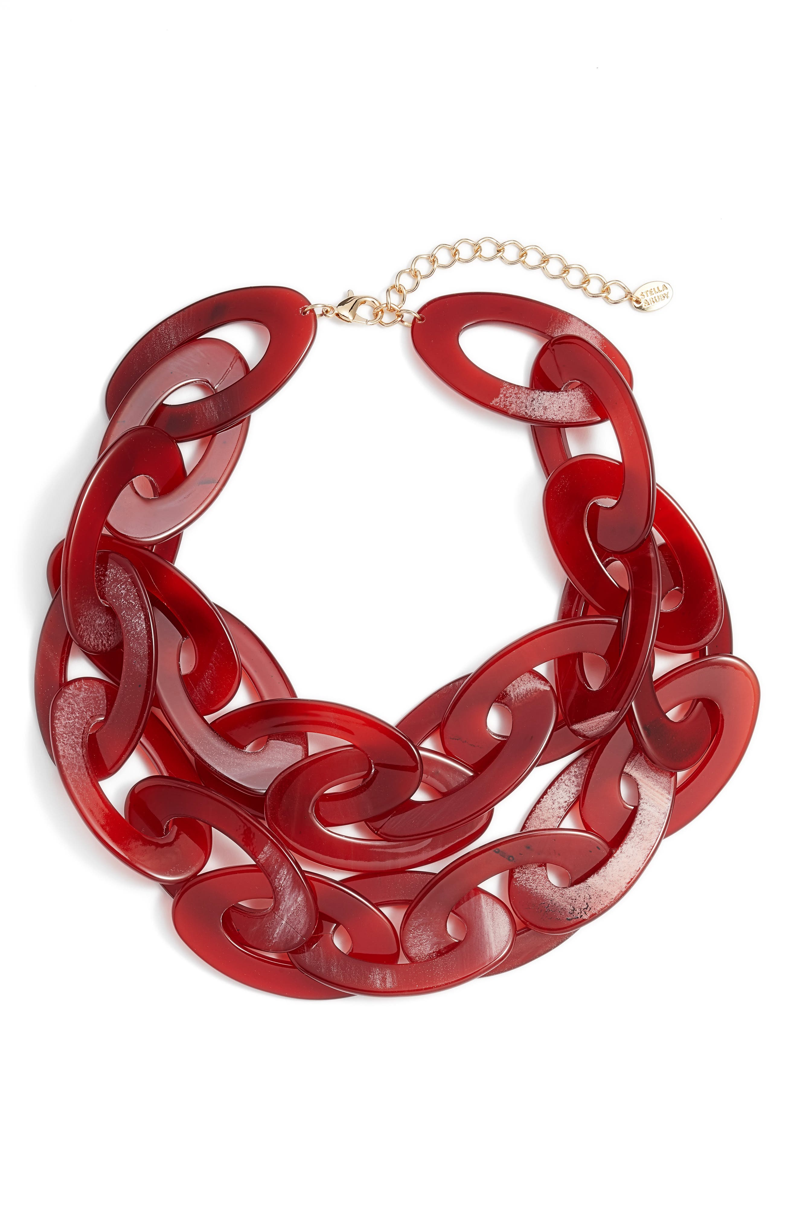 Chunky Acrylic Necklace,                         Main,                         color, Gold/ Red