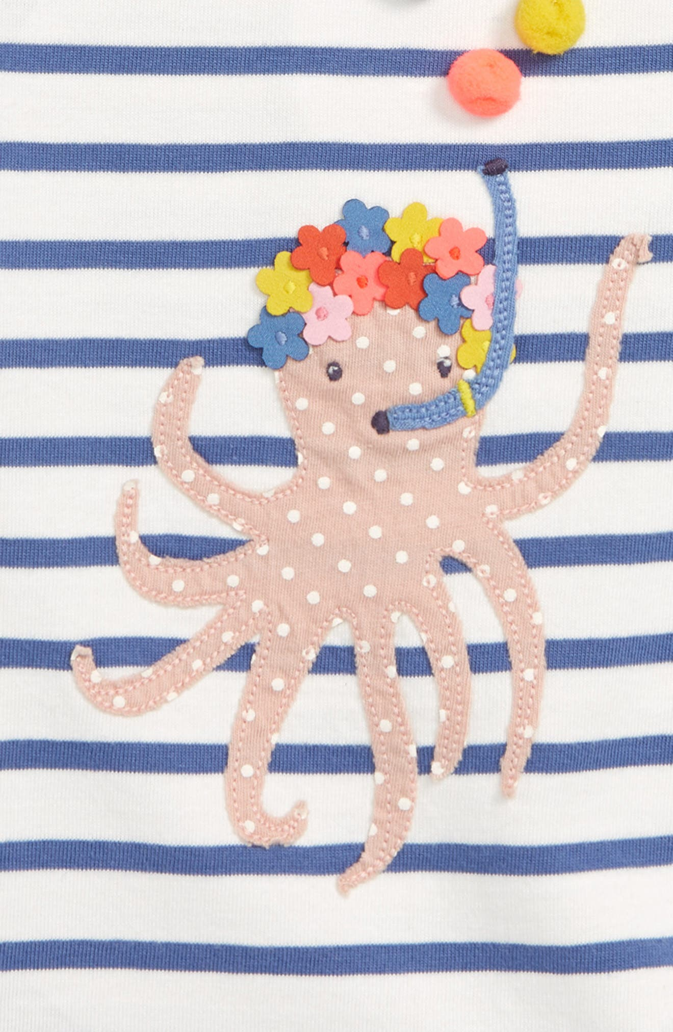 Fun Summer Appliqué Tee,                             Alternate thumbnail 2, color,                             Ivory/ Washed Bluebell Octopus