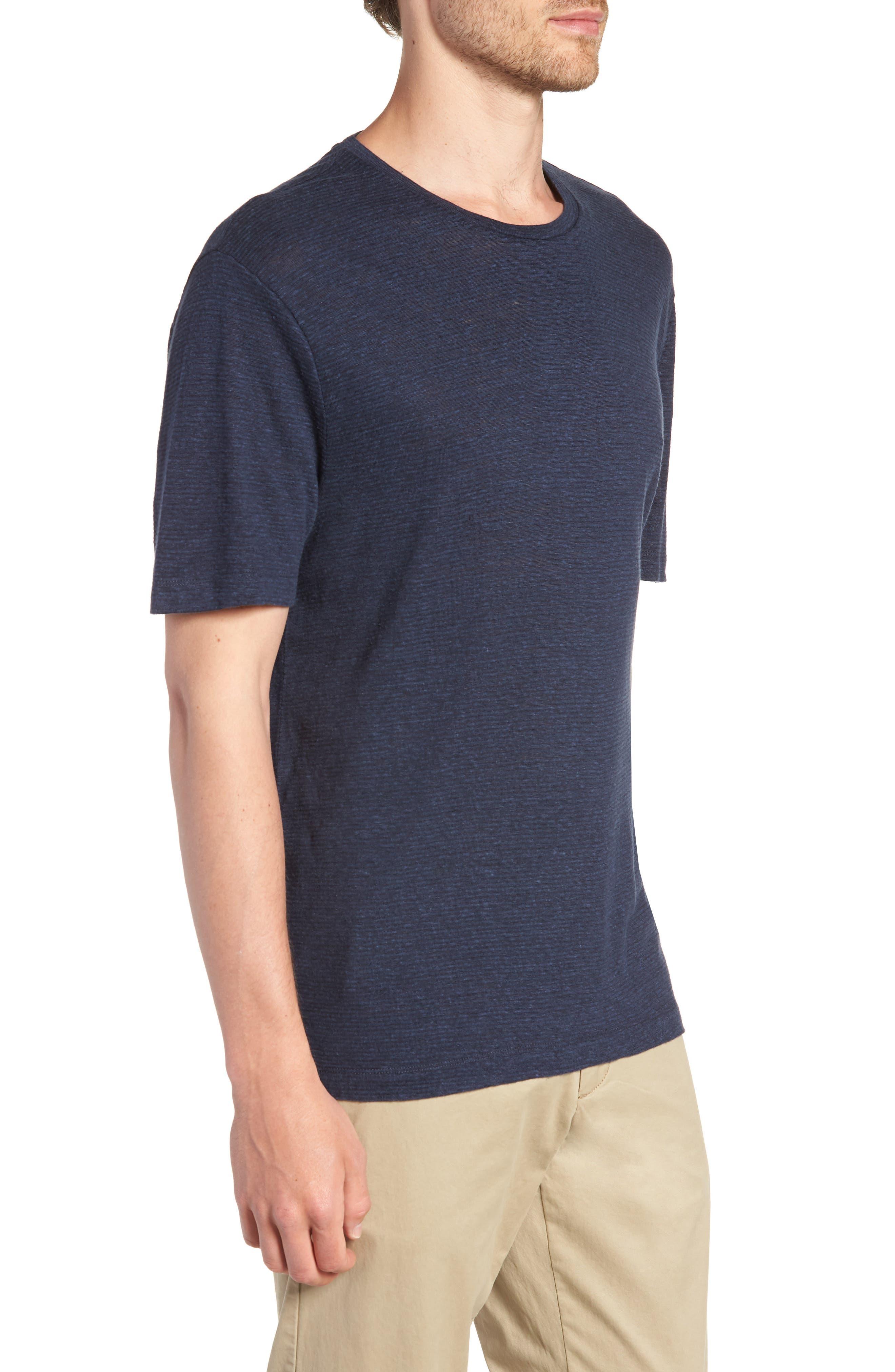 Linen Blend Jersey T-Shirt,                             Alternate thumbnail 3, color,                             Navy Iris Heather