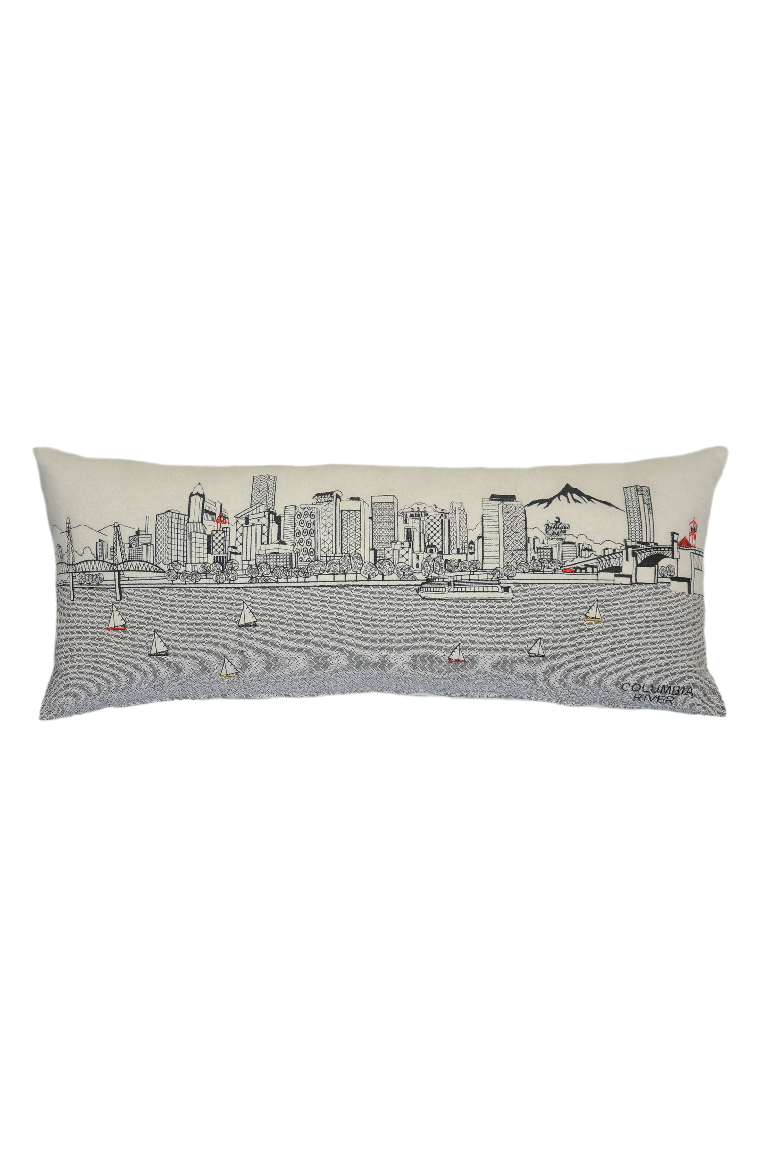Portland Embroidered Skyline Accent Pillow,                             Main thumbnail 1, color,                             Ivory
