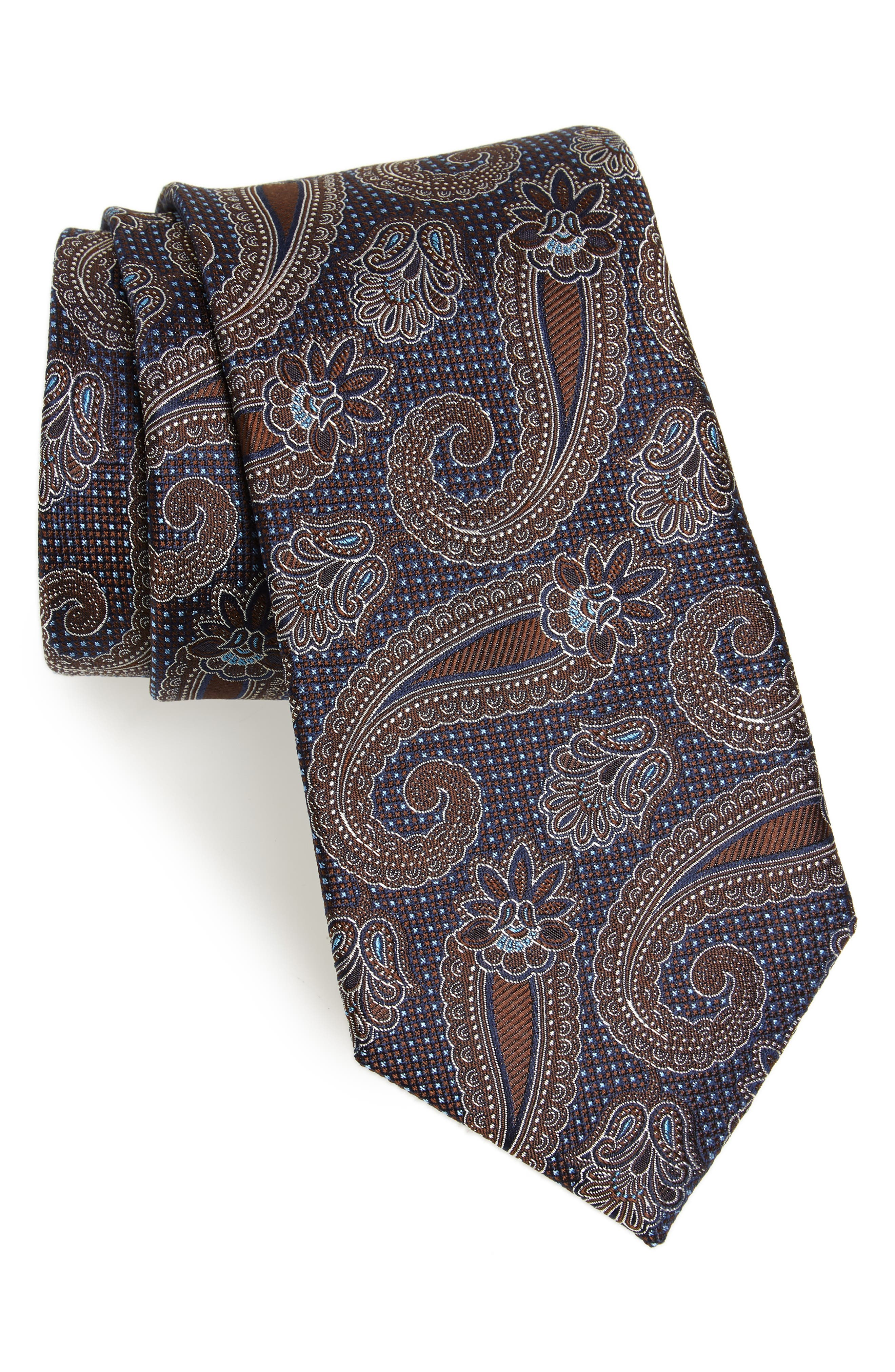 Emery Paisley Silk Tie,                         Main,                         color, Brown