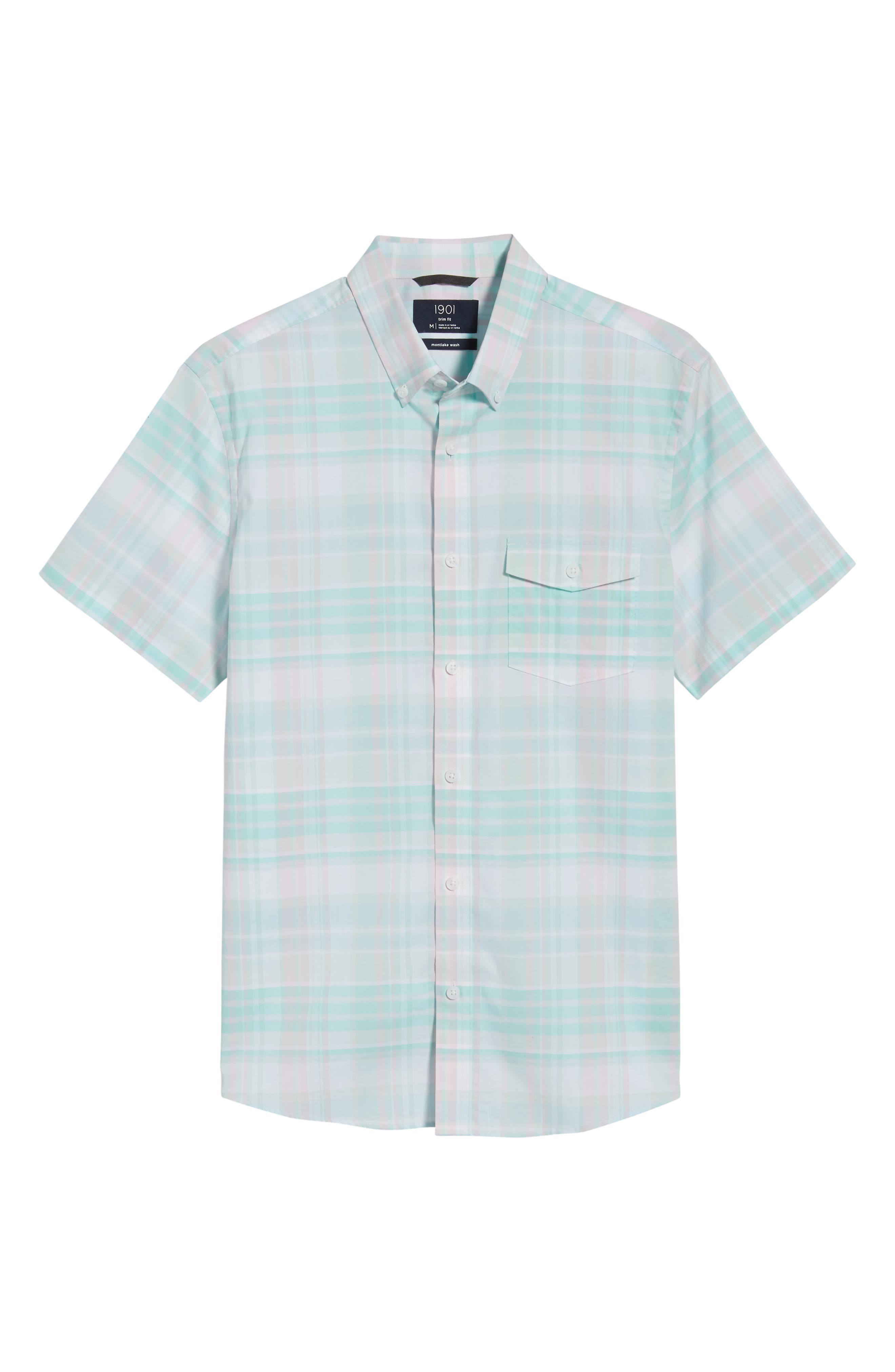 Trim Fit Plaid Short Sleeve Sport Shirt,                             Alternate thumbnail 6, color,                             Green Largo Pink Plaid