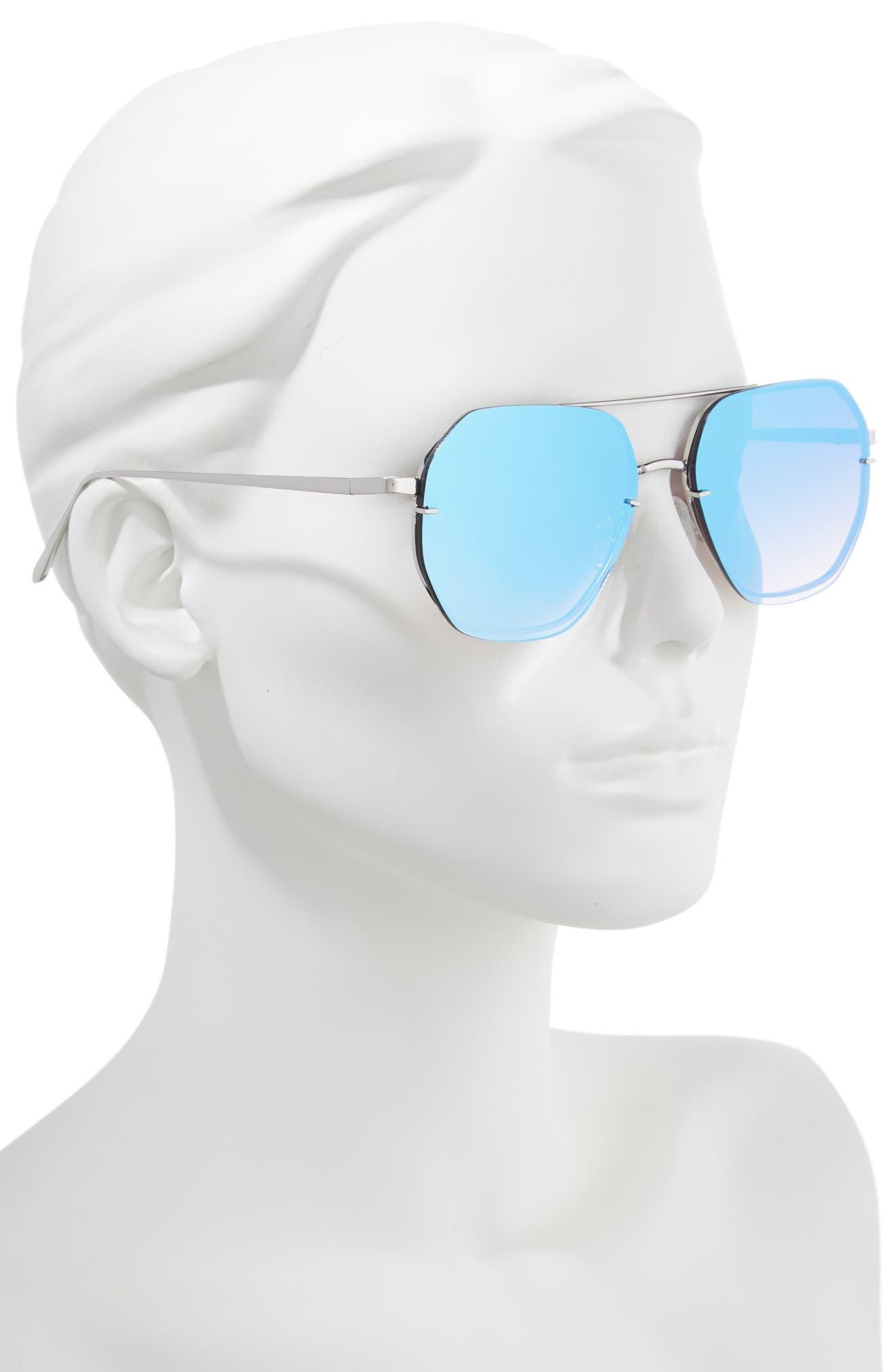 62mm Metal Flat Geo Aviator Sunglasses,                             Alternate thumbnail 2, color,                             Silver/ Blue