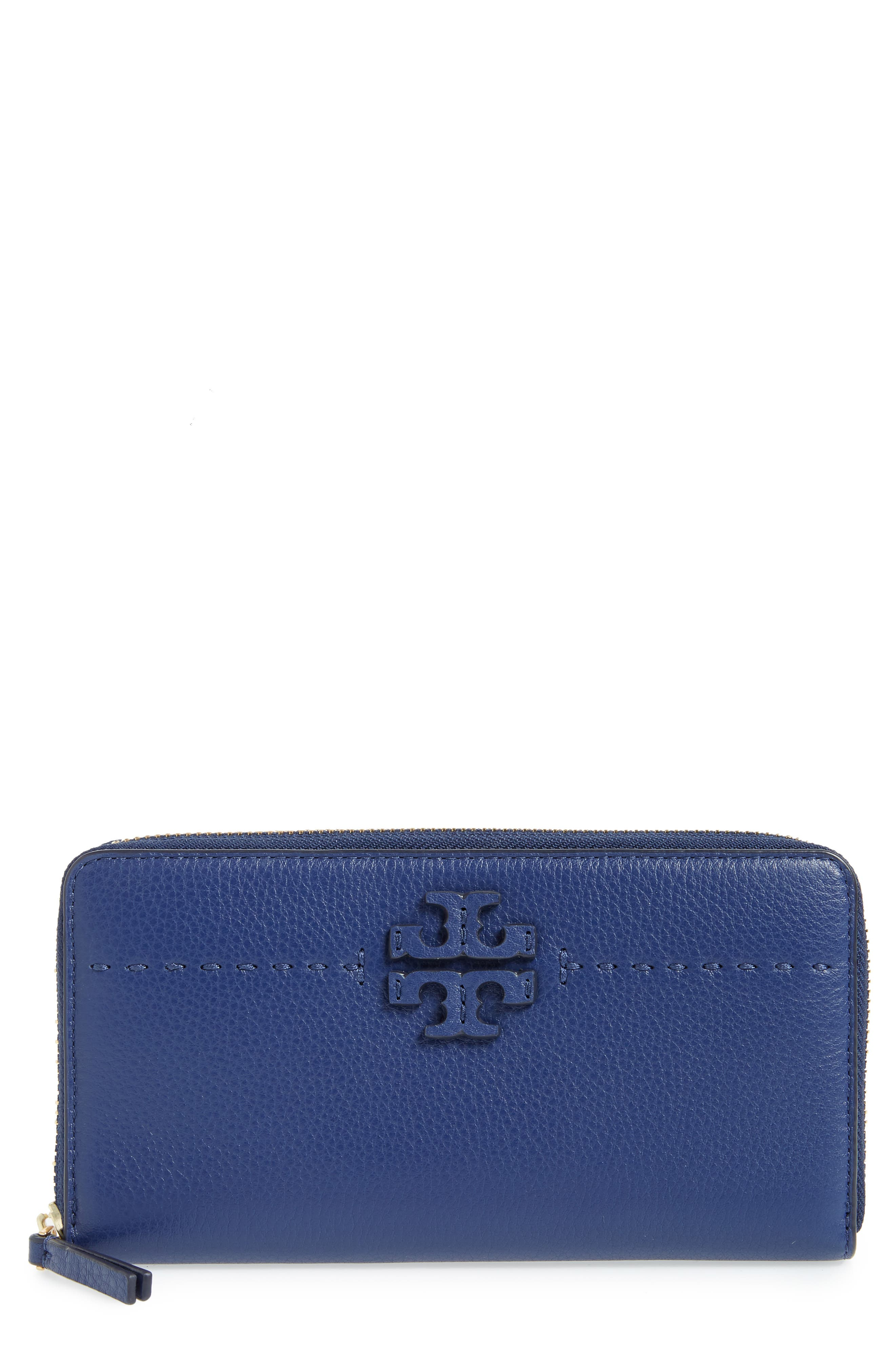 McGraw Leather Continental Zip Wallet,                             Main thumbnail 1, color,                             Bright Indigo