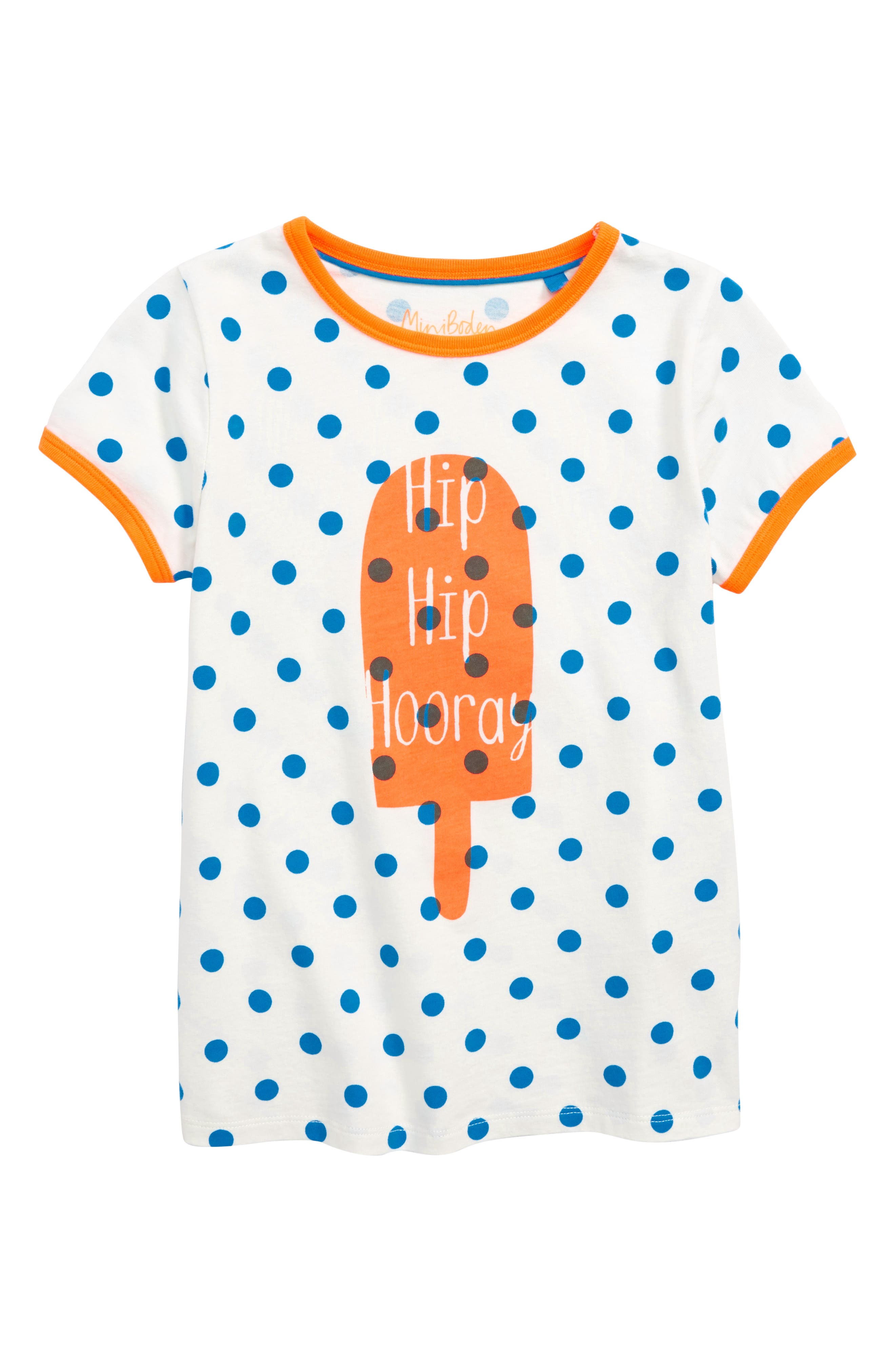 Bright Print Tee,                         Main,                         color, Ivory/ Fluro Blue Spot Lolly