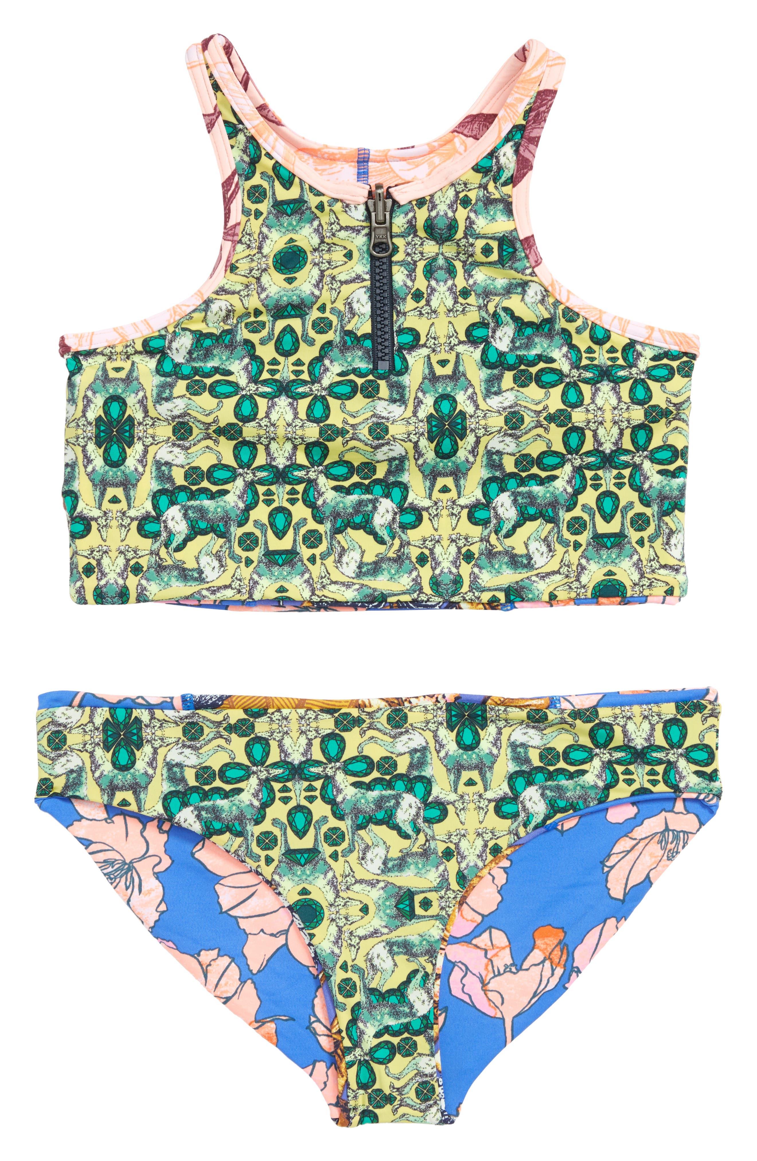 Baker Beach Reversible Two-Piece High Neck Swimsuit,                             Alternate thumbnail 2, color,                             Blue