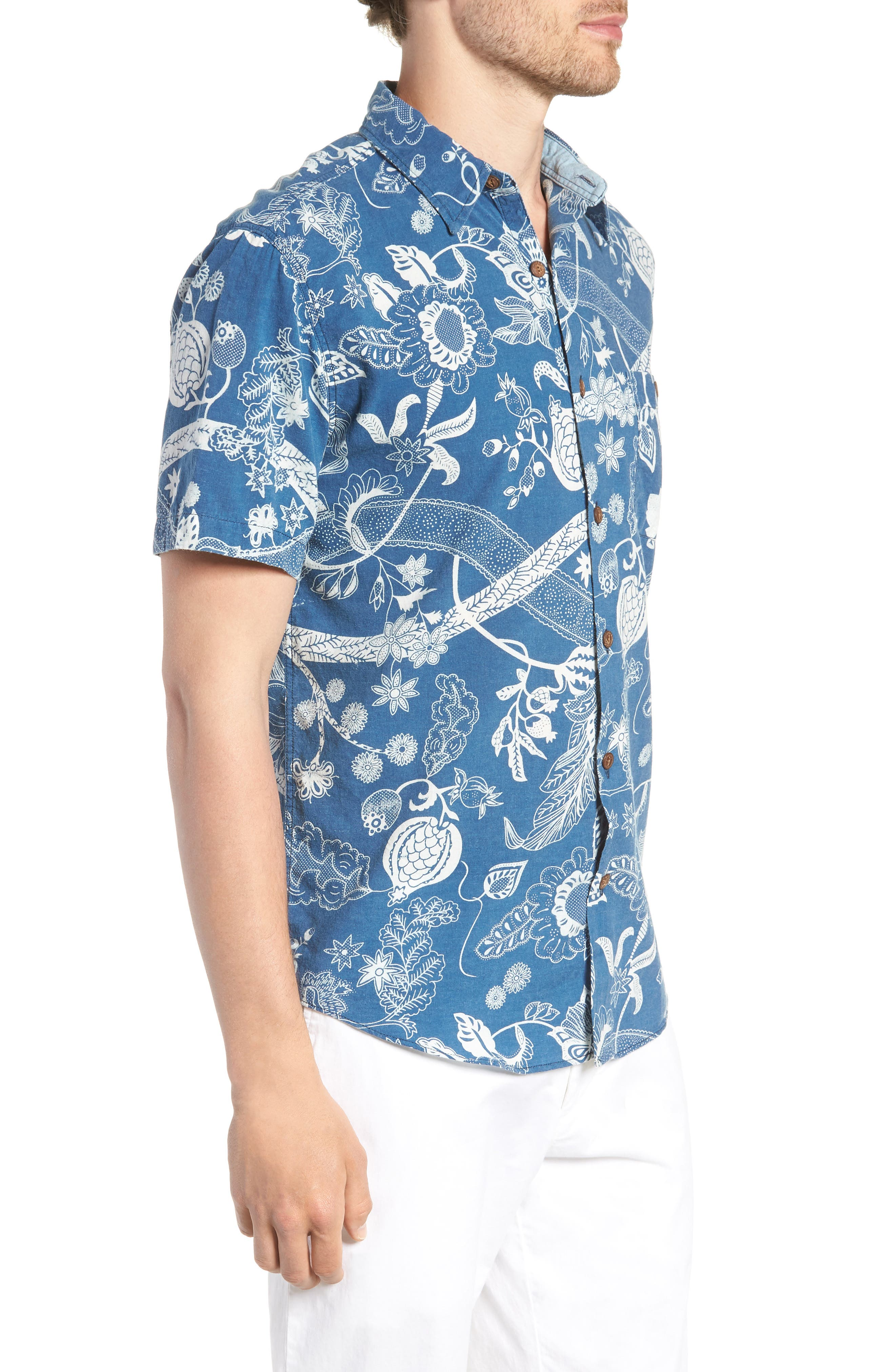 Coast Floral Sport Shirt,                             Alternate thumbnail 4, color,                             Kenji Floral