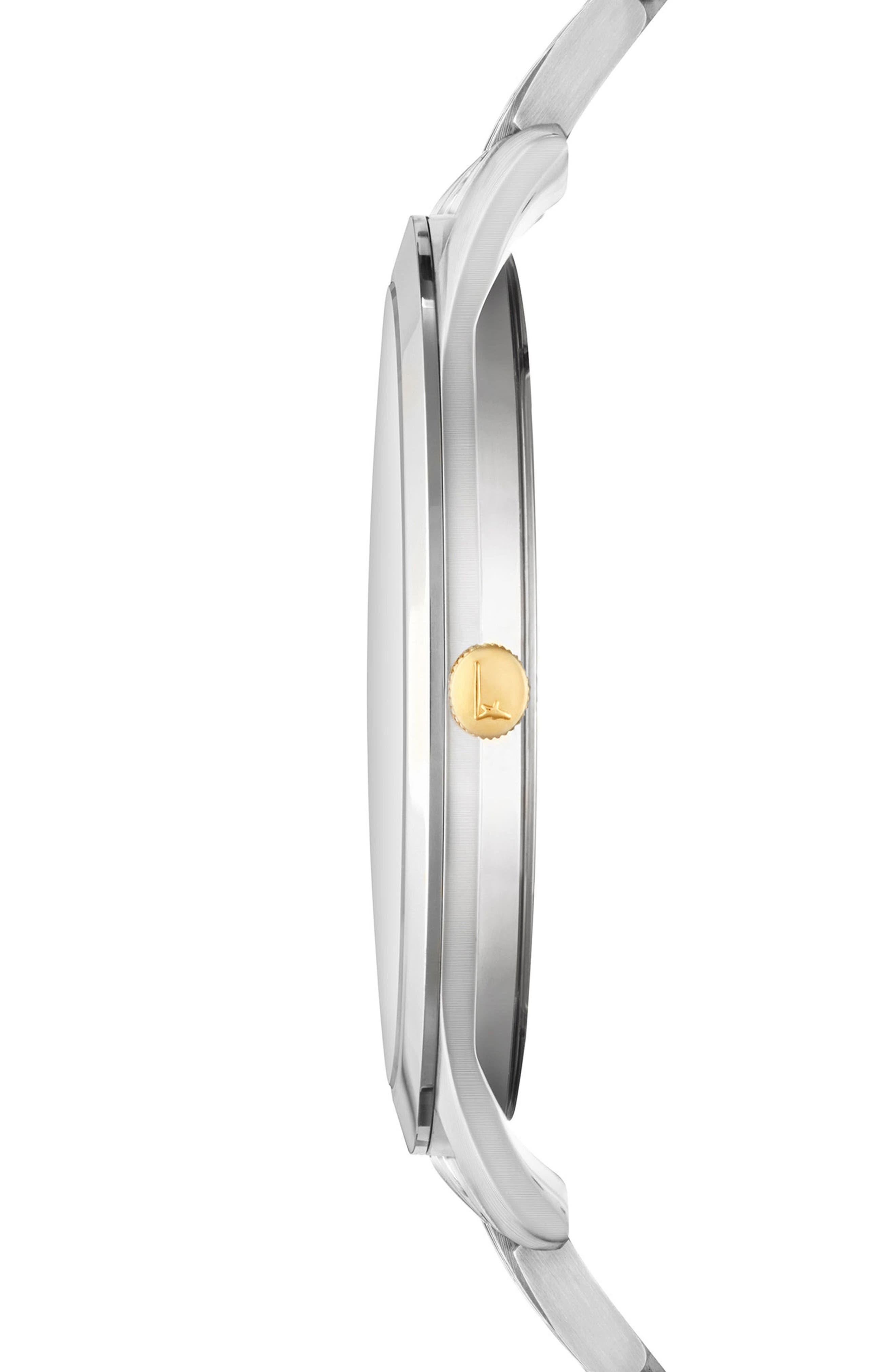 Slim Formal Bracelet Watch, 40mm,                             Alternate thumbnail 3, color,                             Silver/ Black/ Silver
