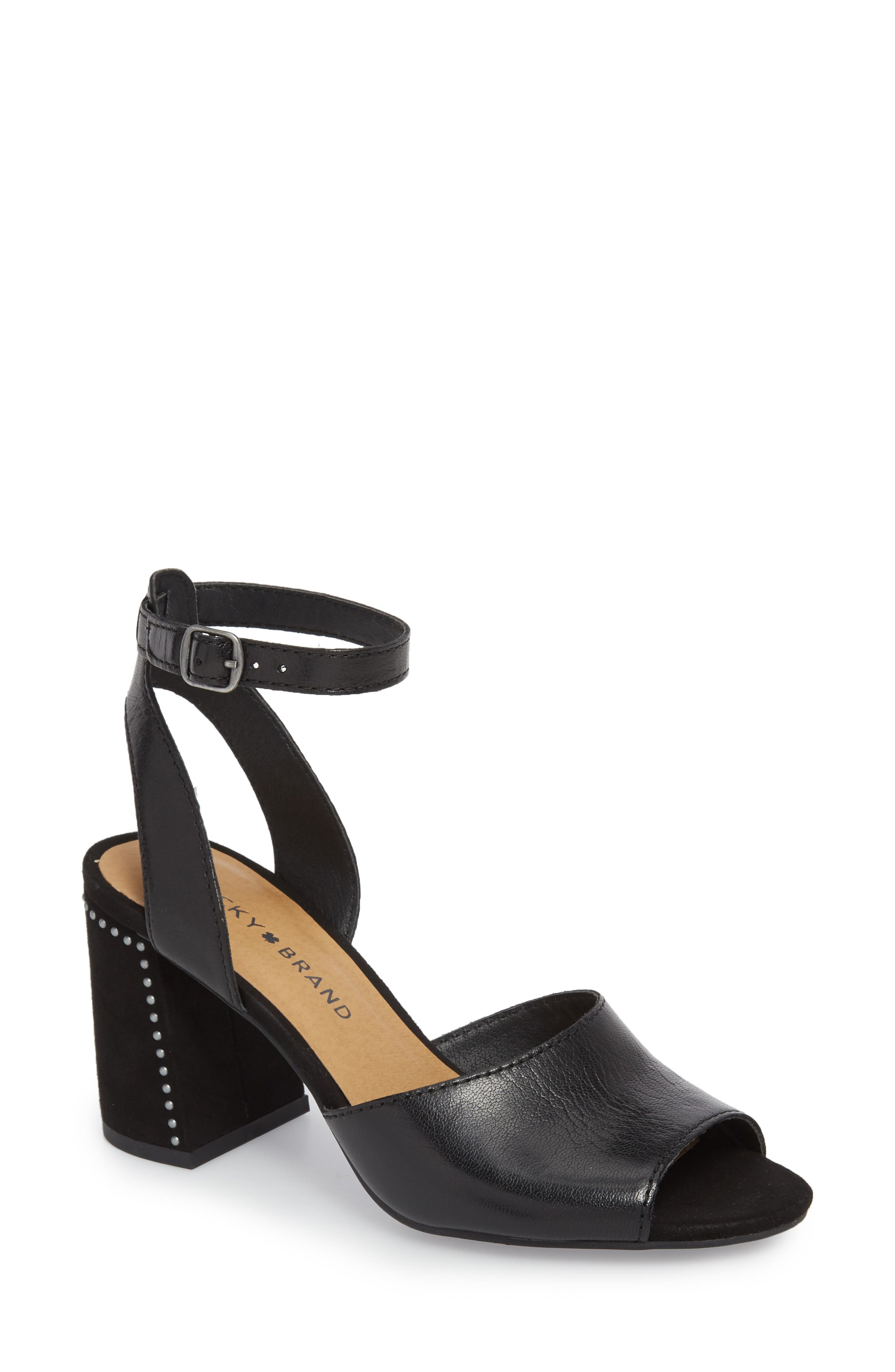 Verlena Sandal,                         Main,                         color, Black Leather
