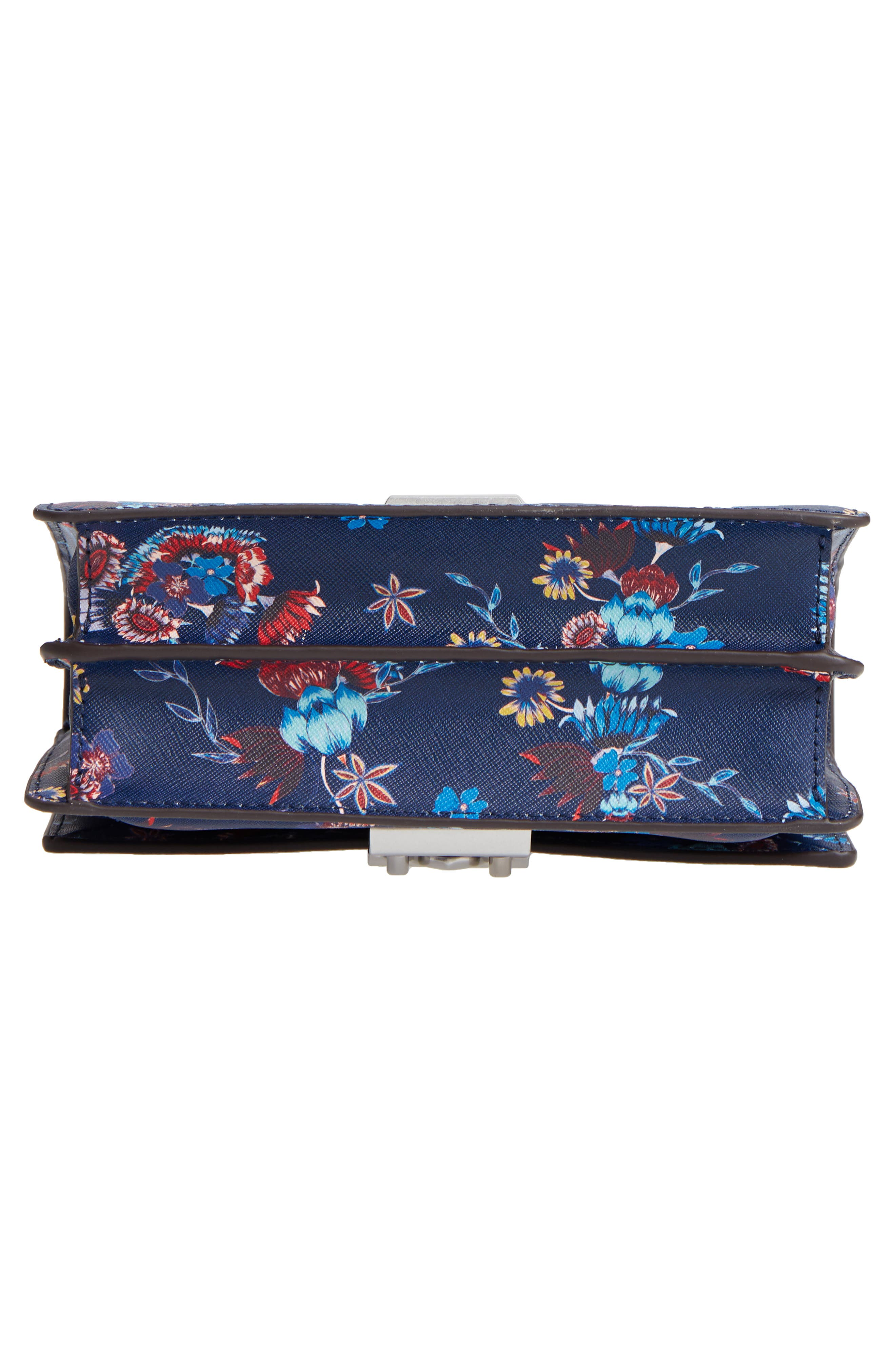 Small Christy Print Leather Shoulder Bag,                             Alternate thumbnail 6, color,                             Floral Blue