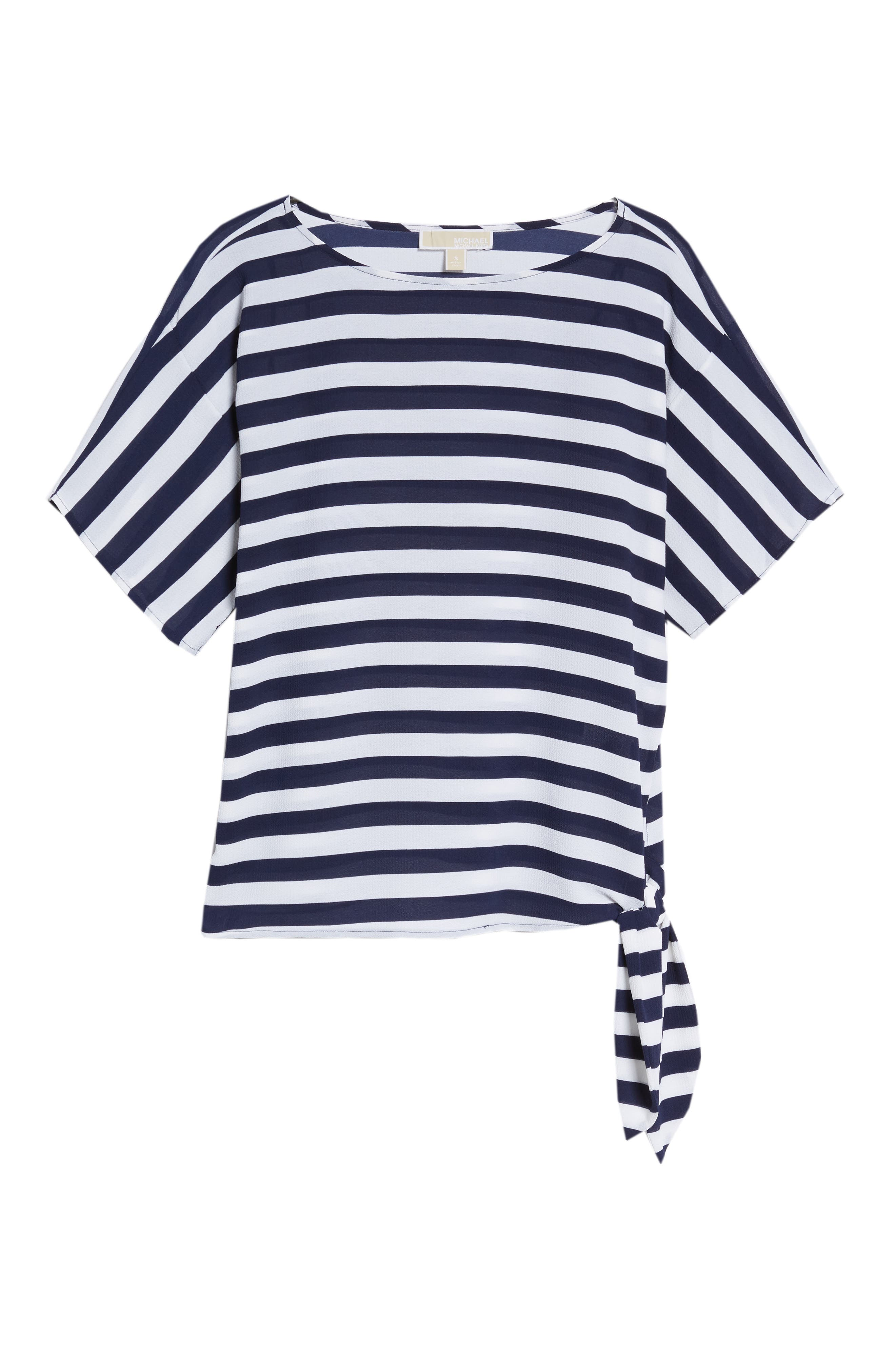 MICHAEL Michael Kors Side Tie Striped Top,                             Alternate thumbnail 6, color,                             True Navy