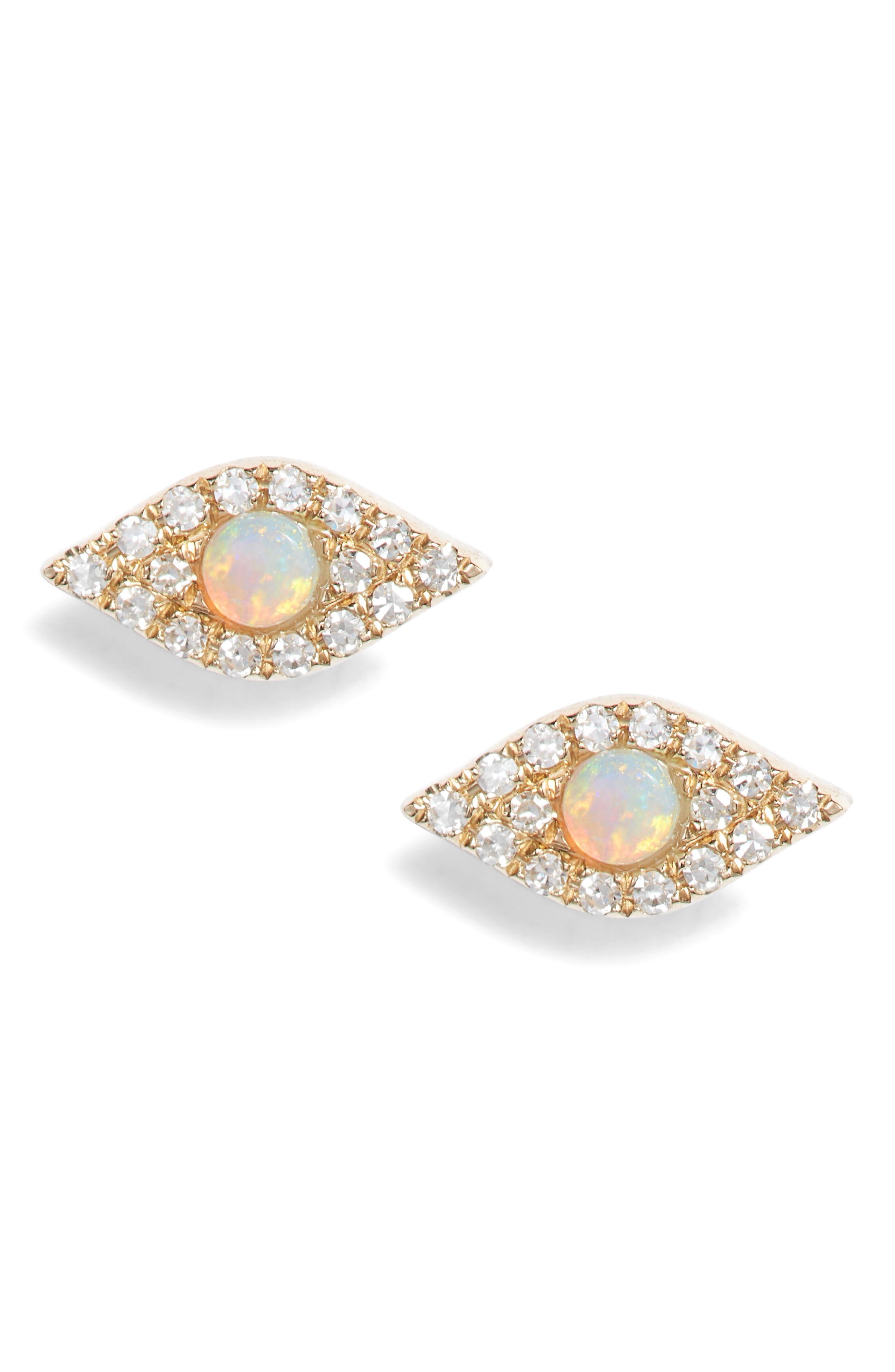 Evil Eye Diamond & Opal Stud Earrings,                             Main thumbnail 1, color,                             Yellow Gold/ Opal