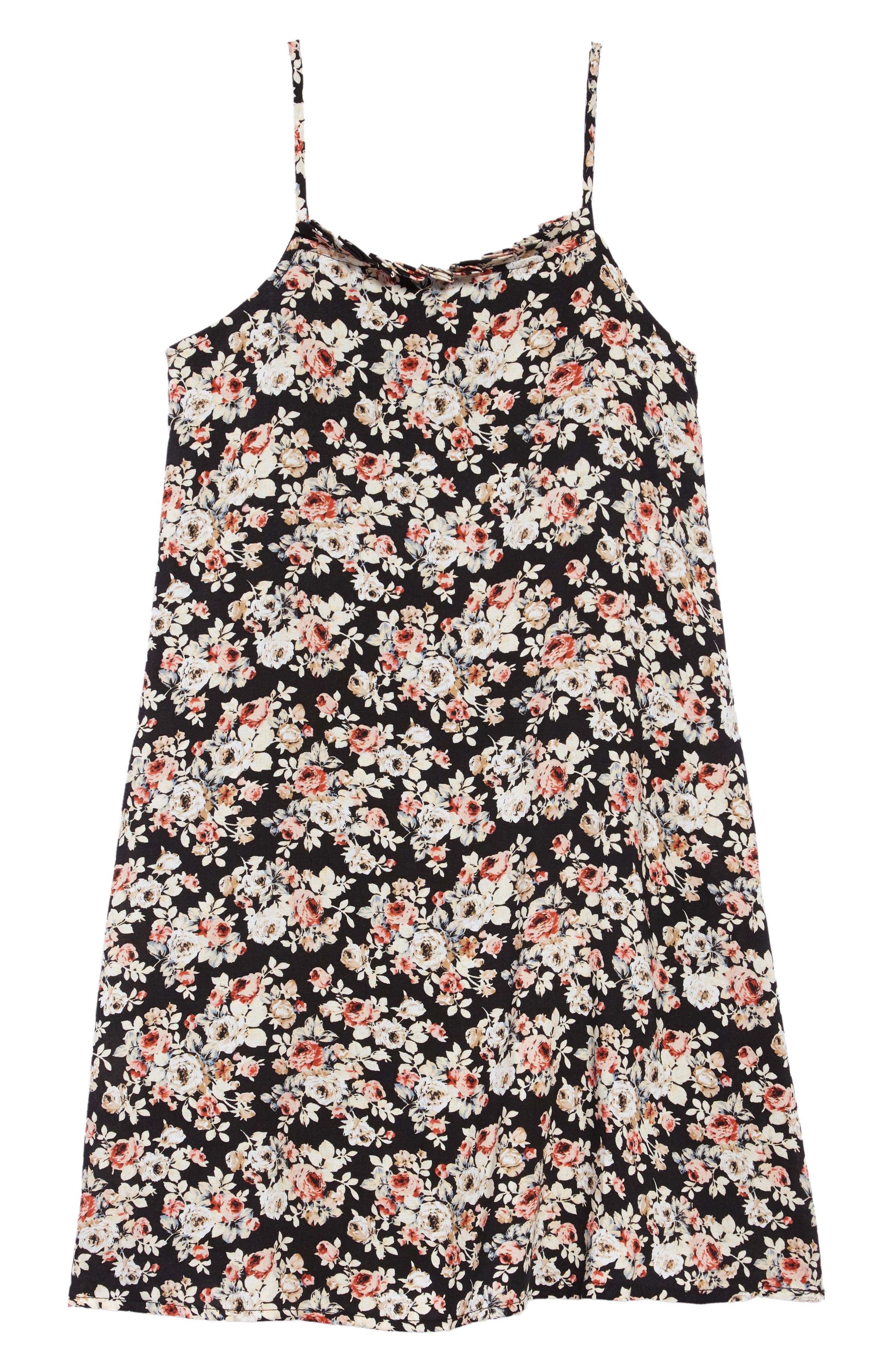 Floral Shift Dress,                             Main thumbnail 1, color,                             Black Floral